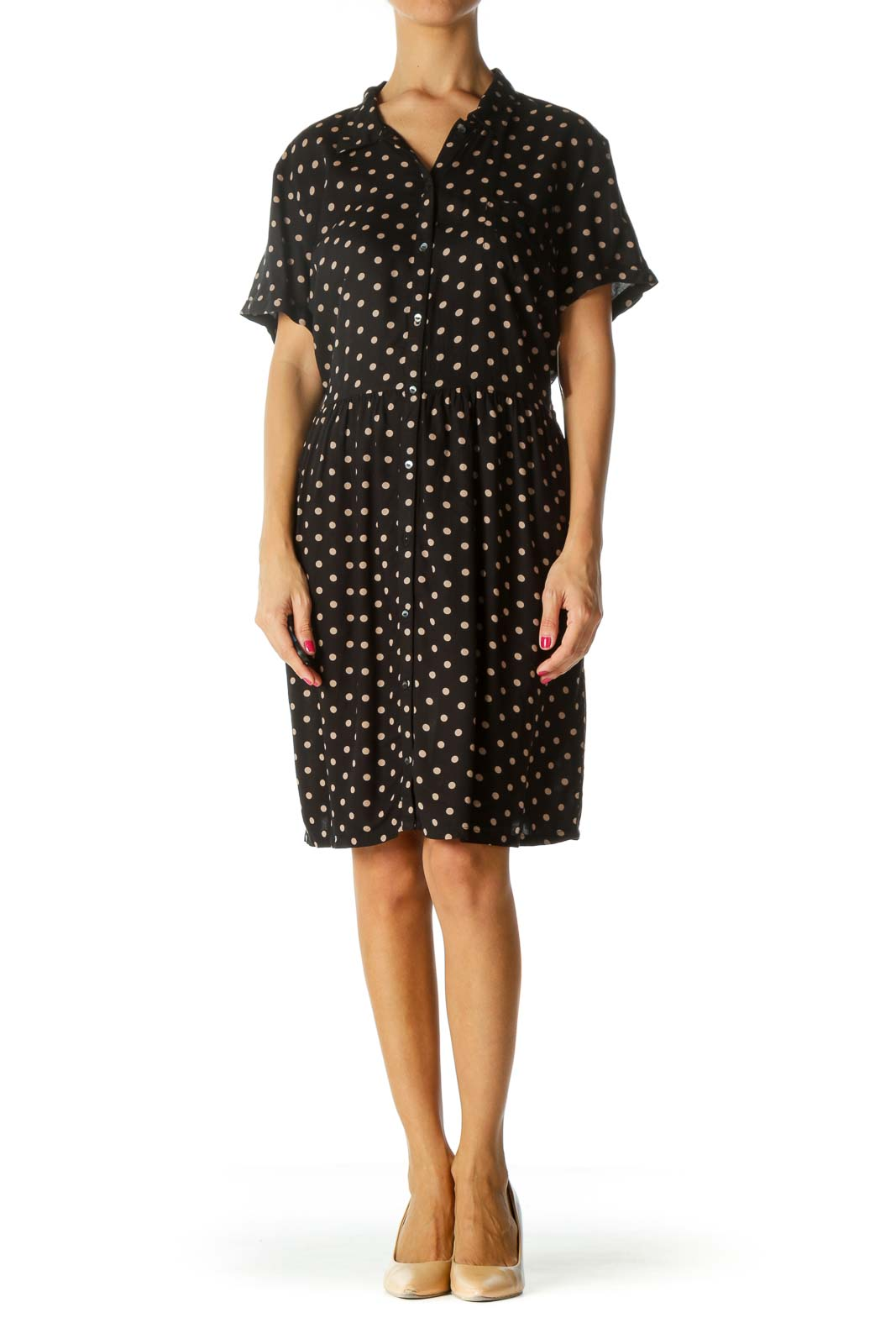 Black Polka Dot Midi Button Down Dress