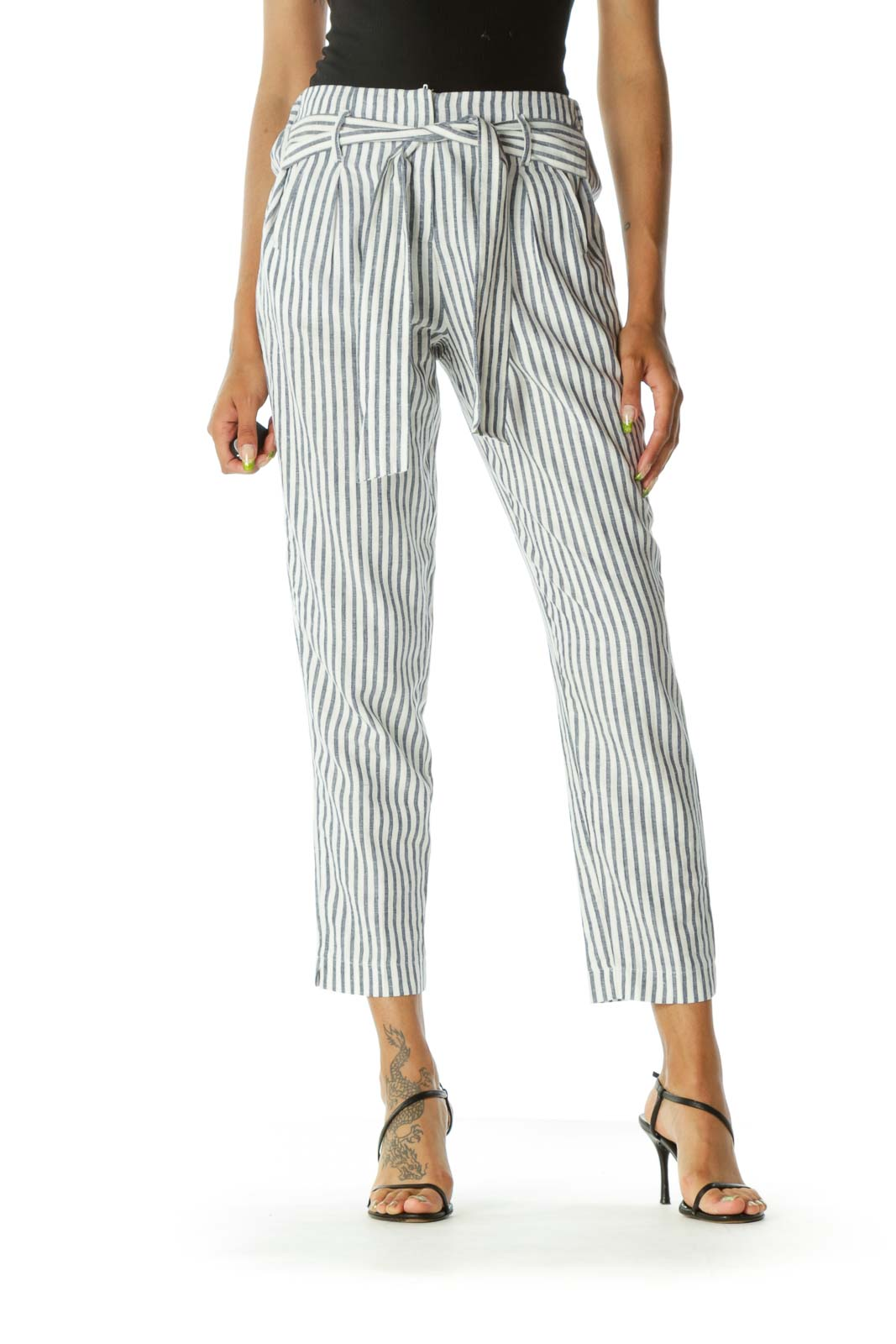 Blue Crean Striped Linen Pant