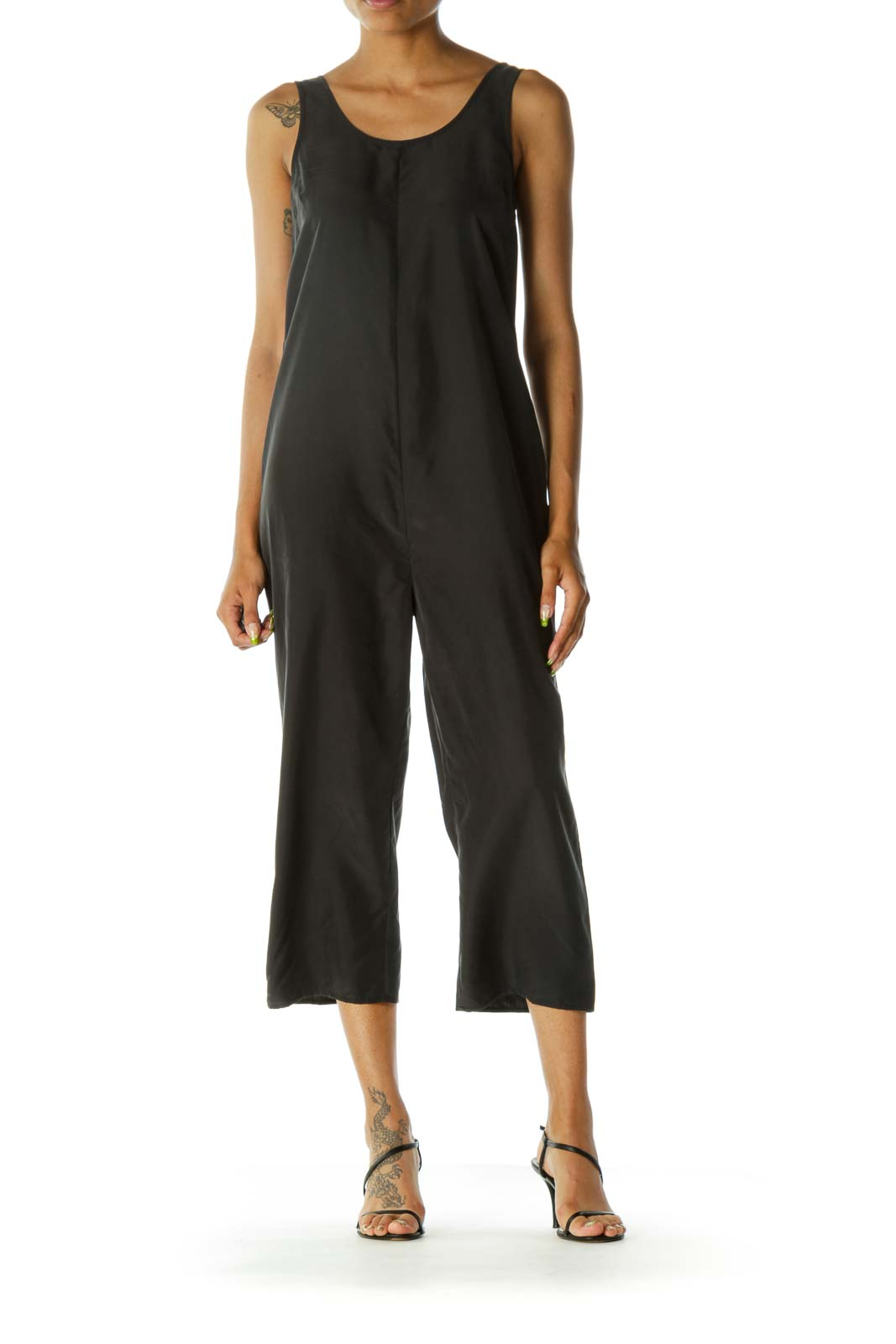 Black Relaxed Wide-Leg Jumpsuit