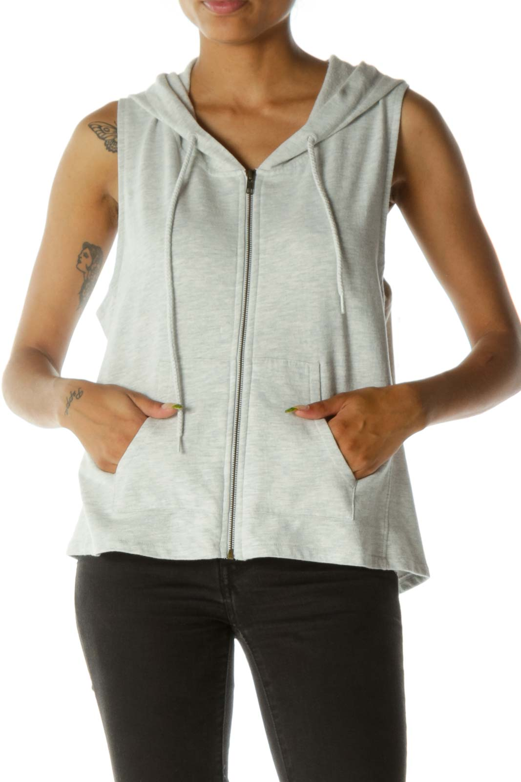 Light Gray Cotton Hooded Vest
