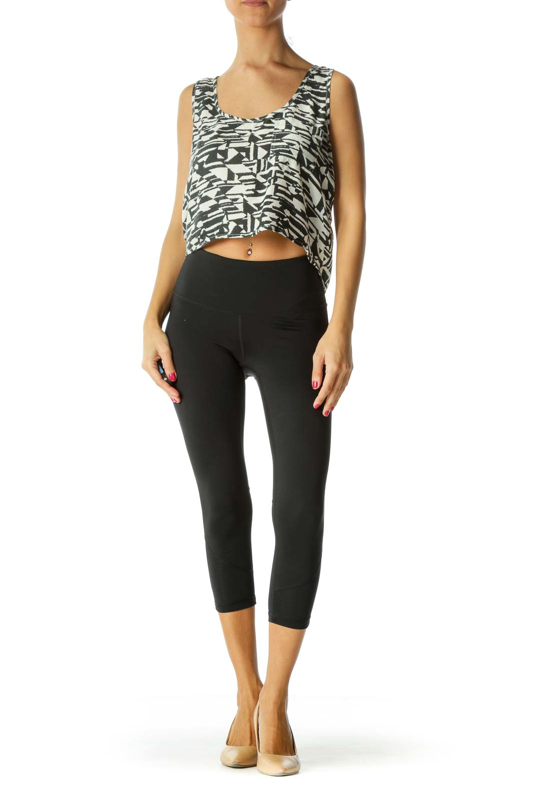Black Patterned Crop Tank Top