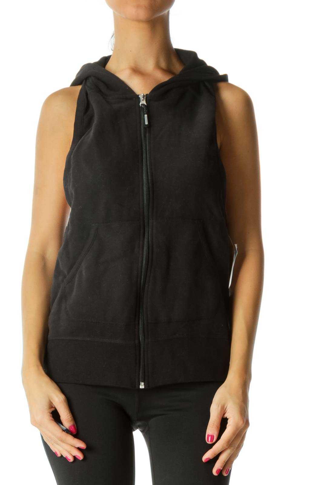 Black Mesh Material Hooded Quick-Dry Sweat Vest