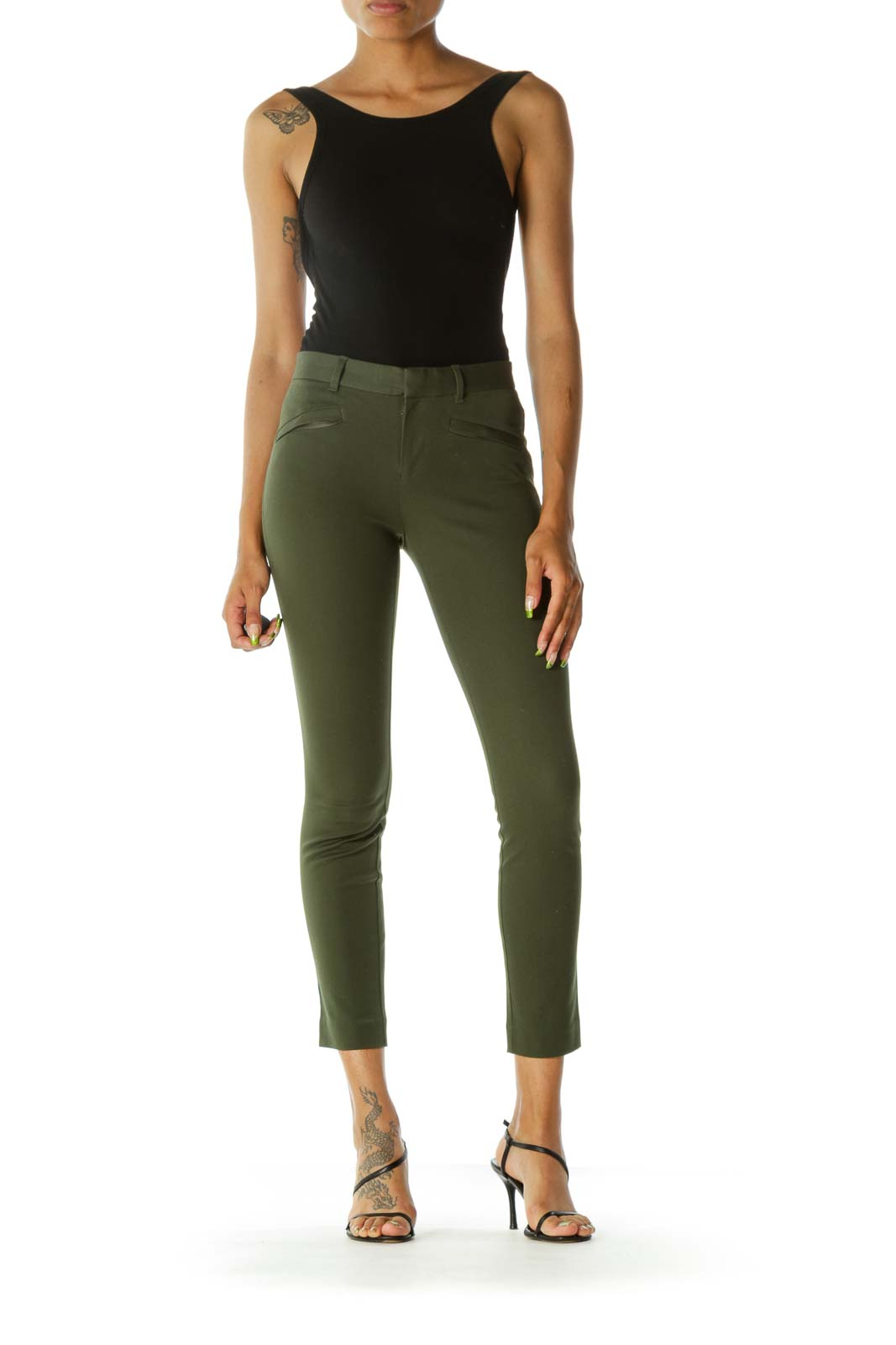 Green Stretch Hidden Front Zipper Pockets Skinny Ankle Pants