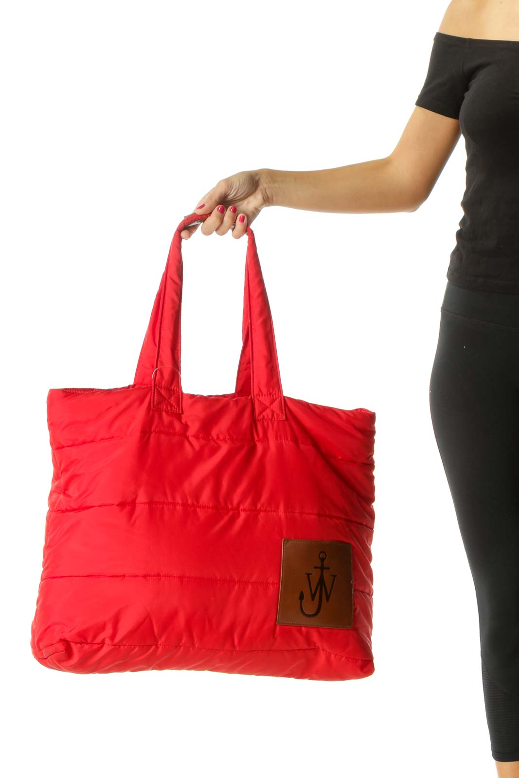 Red Brown Two-Handles Padded Open Tote Bag