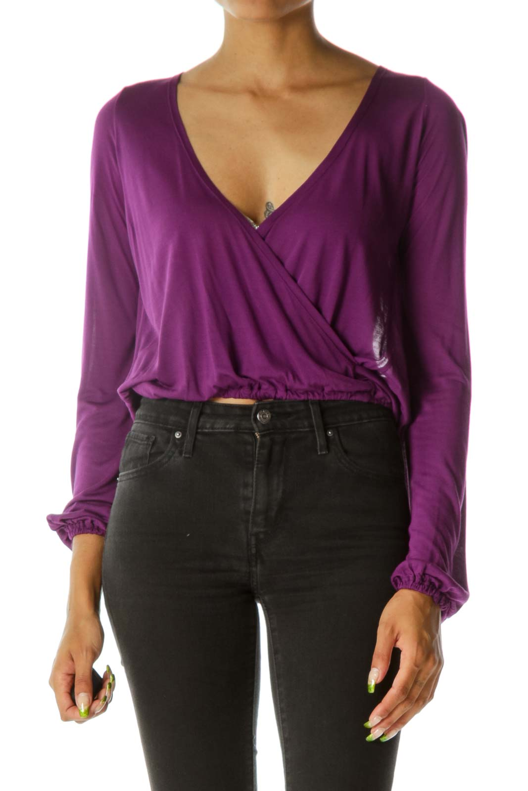 Purple Deep V Front & Back Crop Top