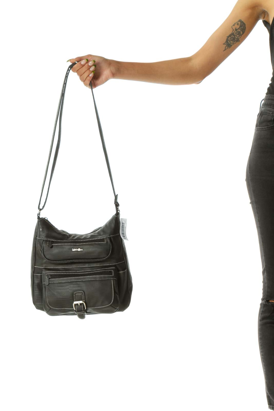 Black Cream Stitched Faux Alligator Skin Pocketed Crossbody Bag
