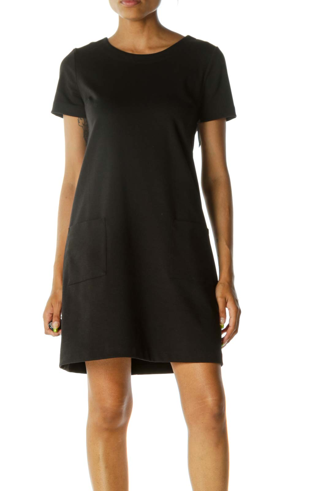 Black Slim Pocketed Dress