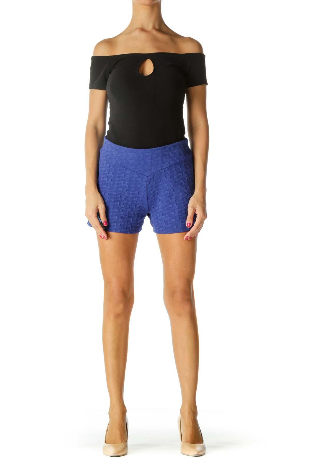 Royal Blue Stretch Jacquard High-Waist Shorts