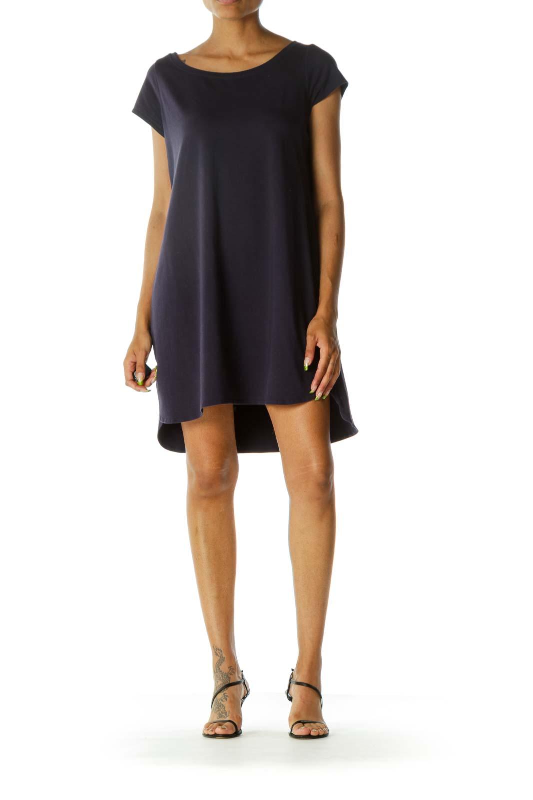 Navy Slim Midi Shirt Dress