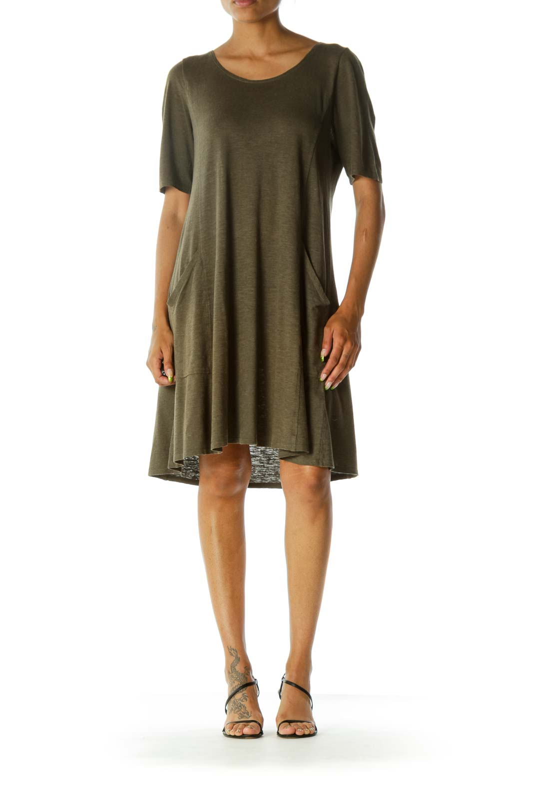 Olive Pocketed Relax Midi Dress