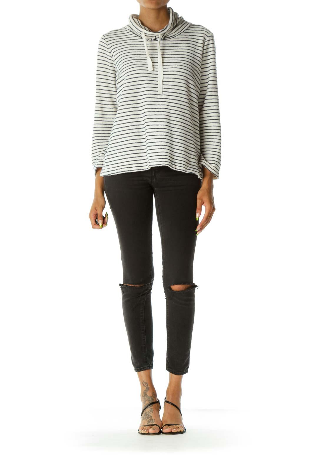 Black & White Stripe Mock Neck Sweater