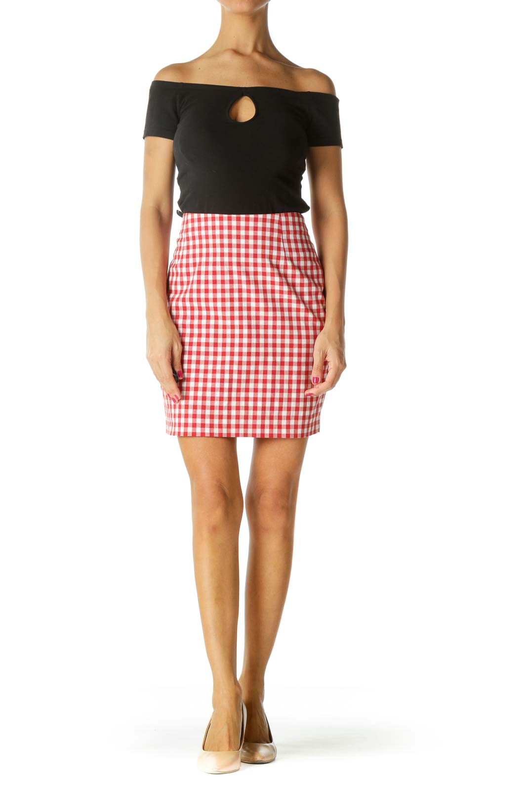 Red White Gingham Cinched Waist Textured Skirt