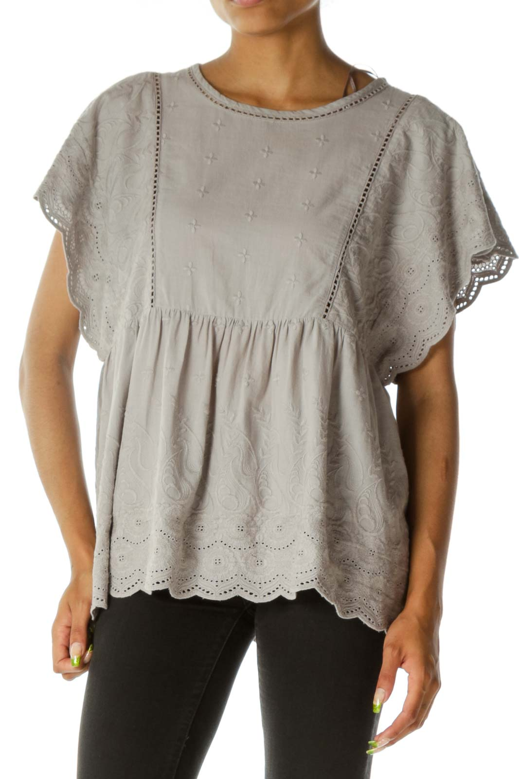 Gray Embroidered Short Sleeve Top