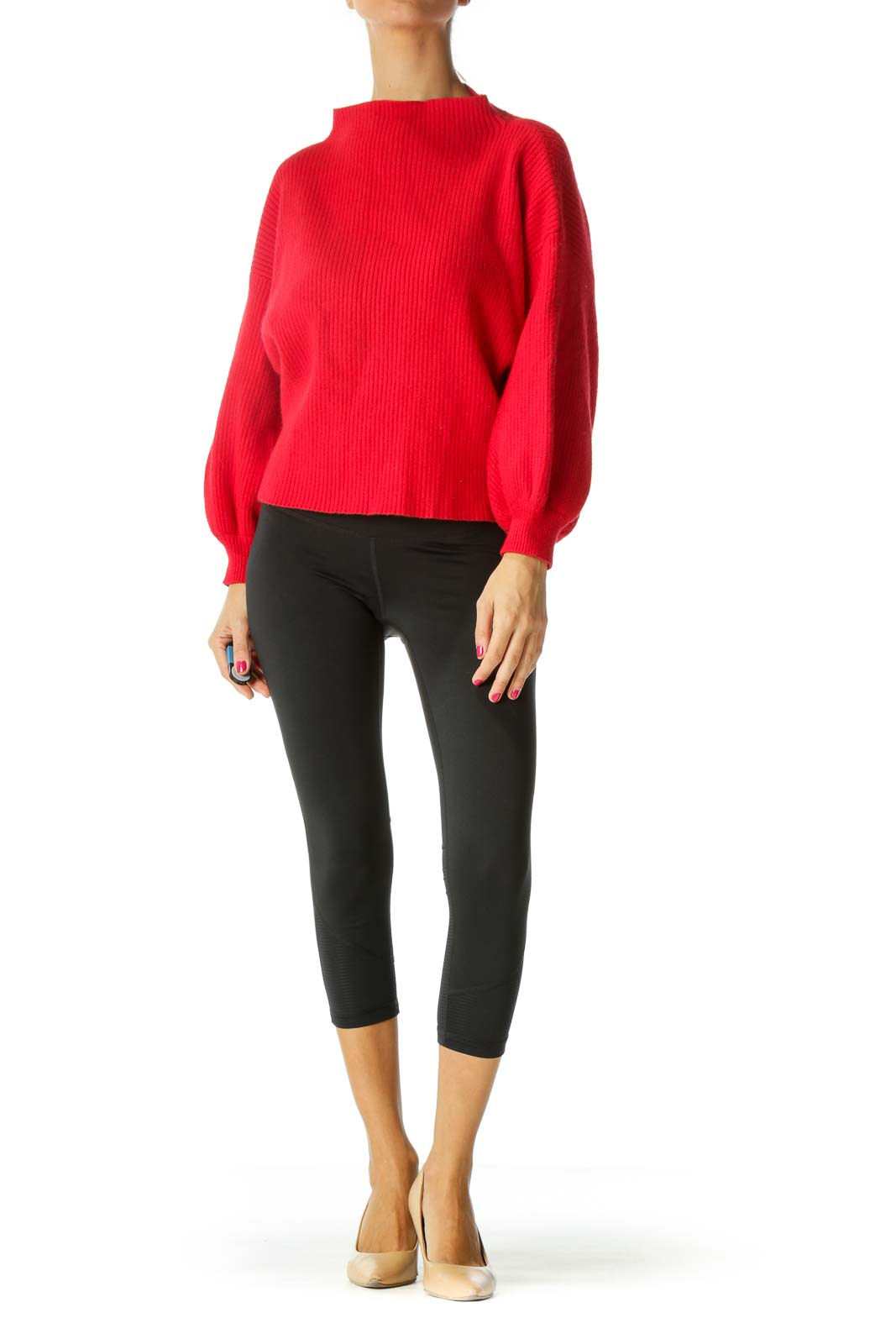 Red Mock Neck Sweater