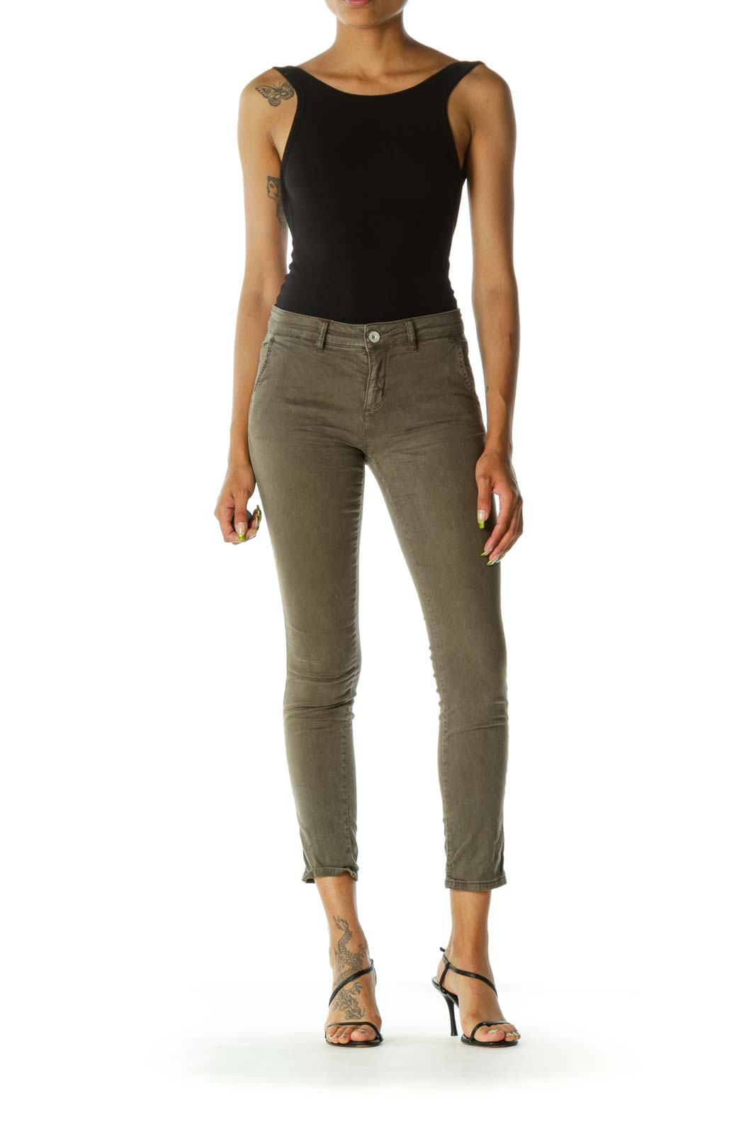 Olive Green Pocketed Slim Pants