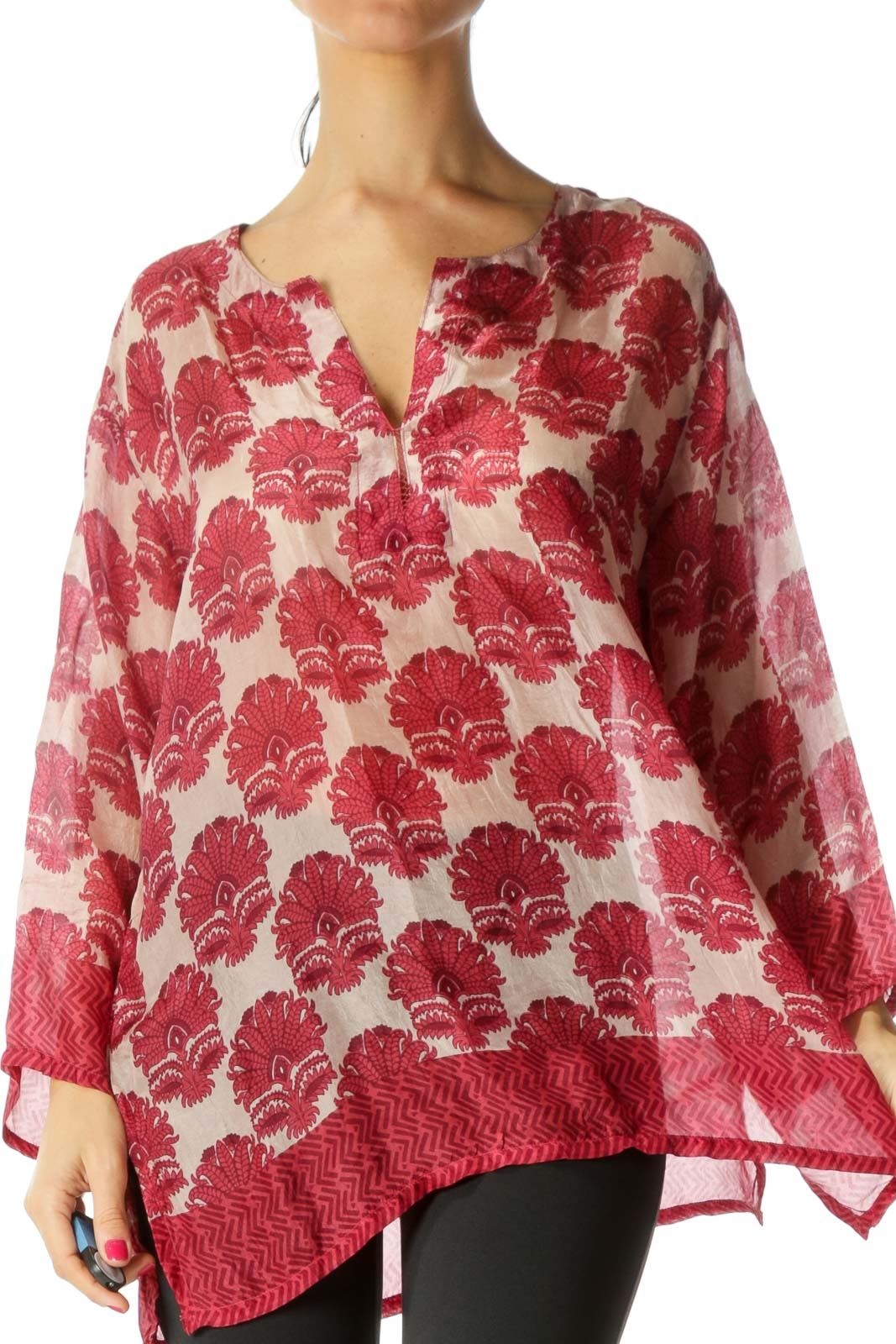 Red Sheer Printed 100% Silk Blouse