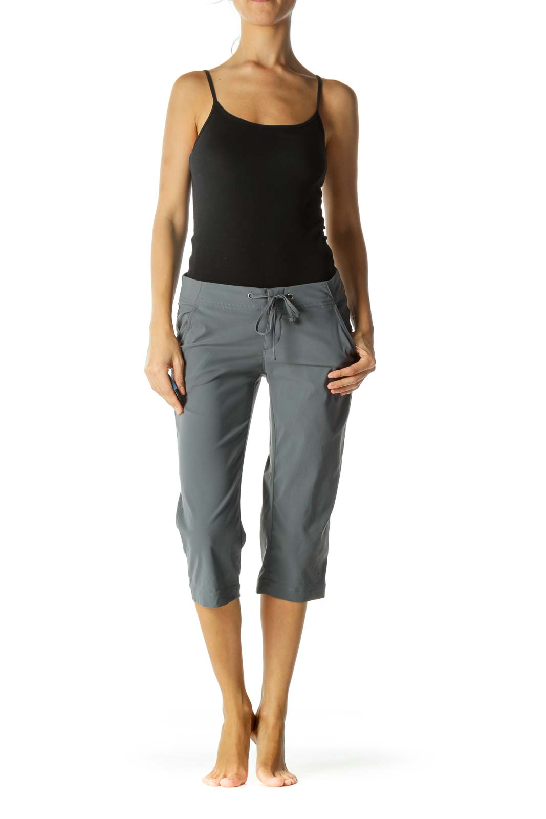 Gray Pocketed Drawstring Stretch Active Cropped Pants