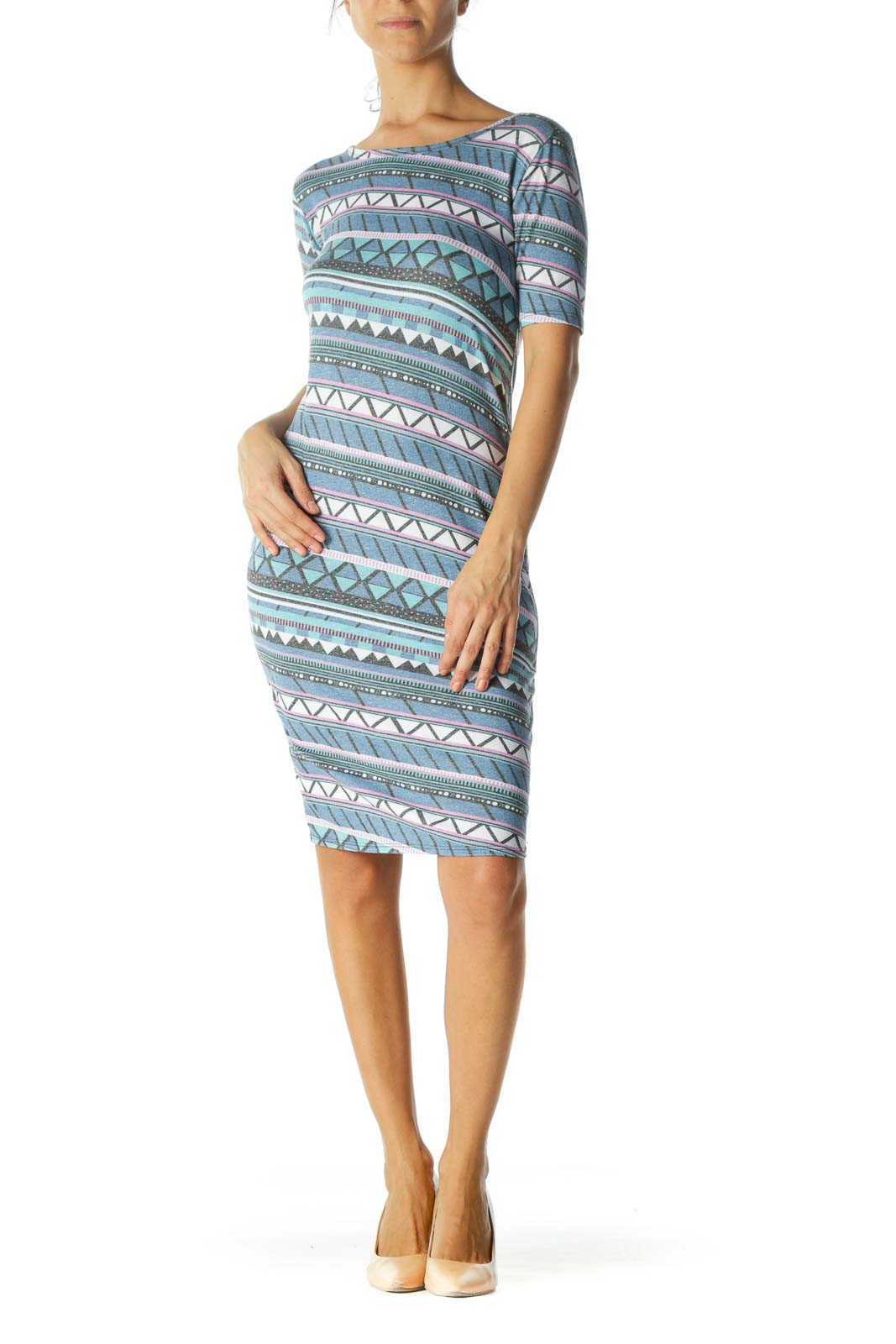 Blue Color Patterned Fit Dress