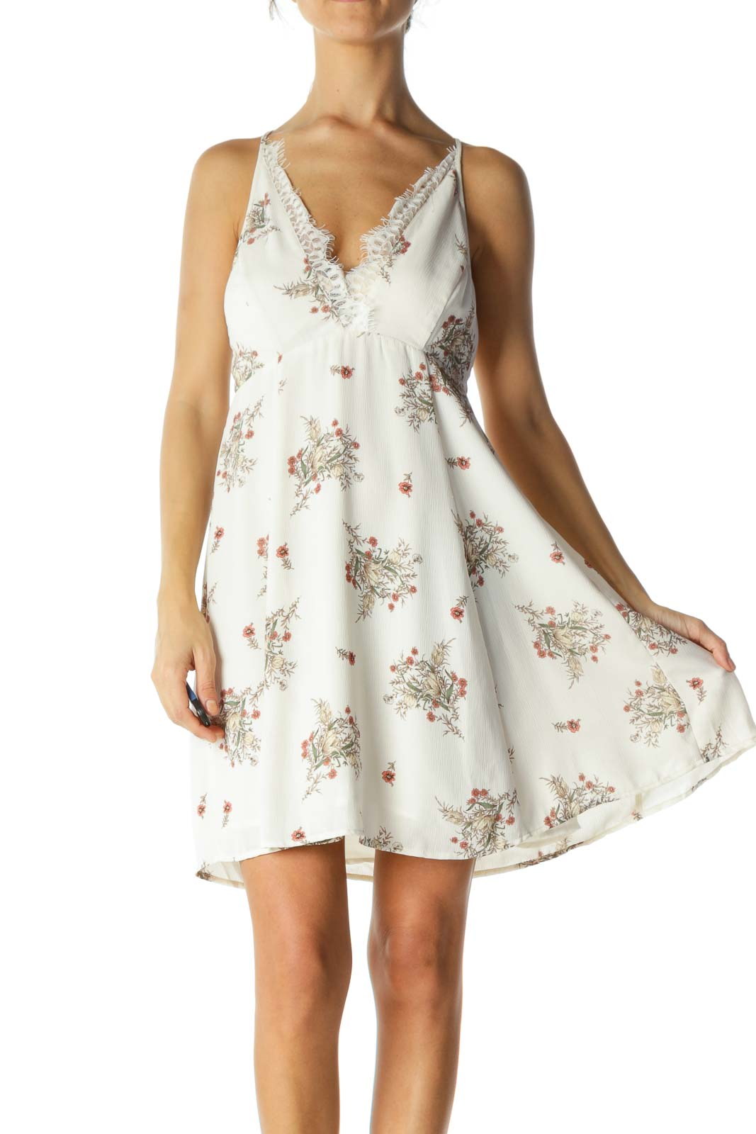 Beige Floral V-Neck Lace Cami Dress