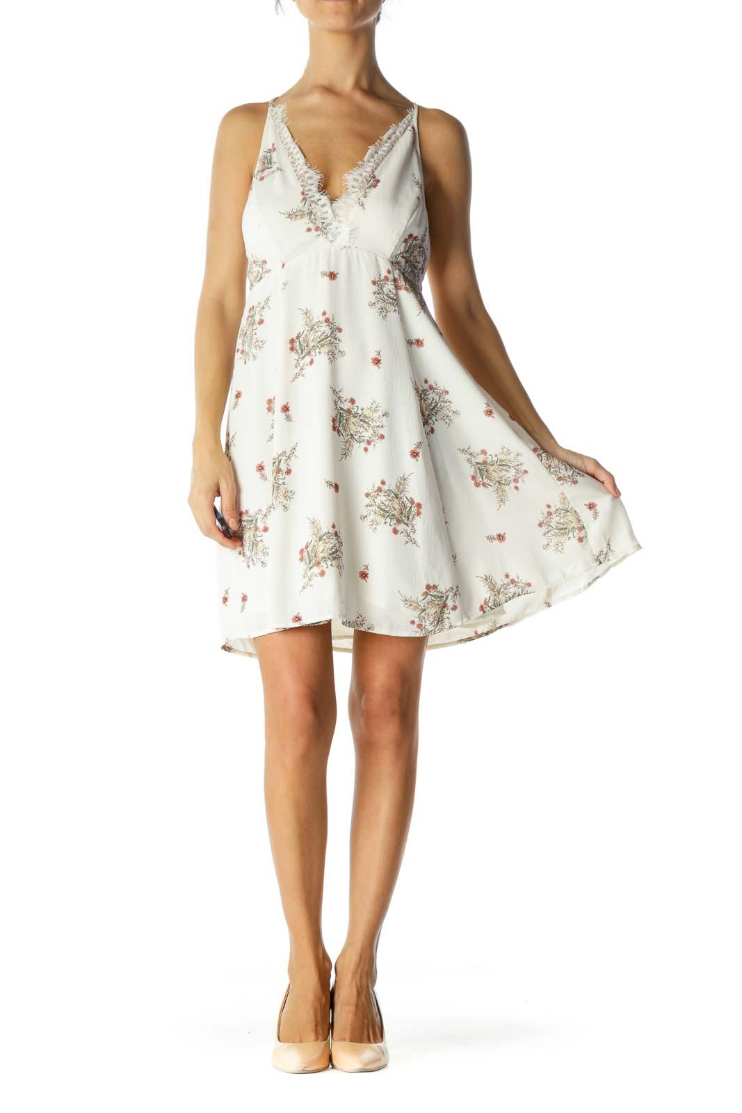 Beige Floral V-Neck Lace Cami Dress