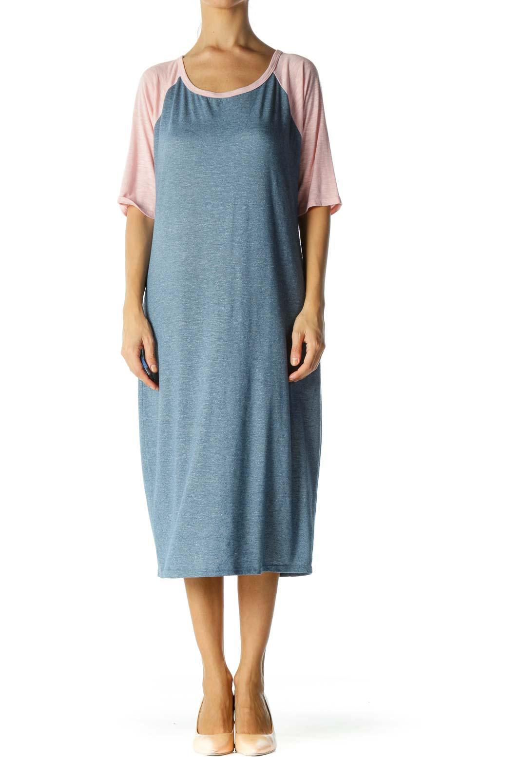 Blue&Pink Color Block Shirt Dress
