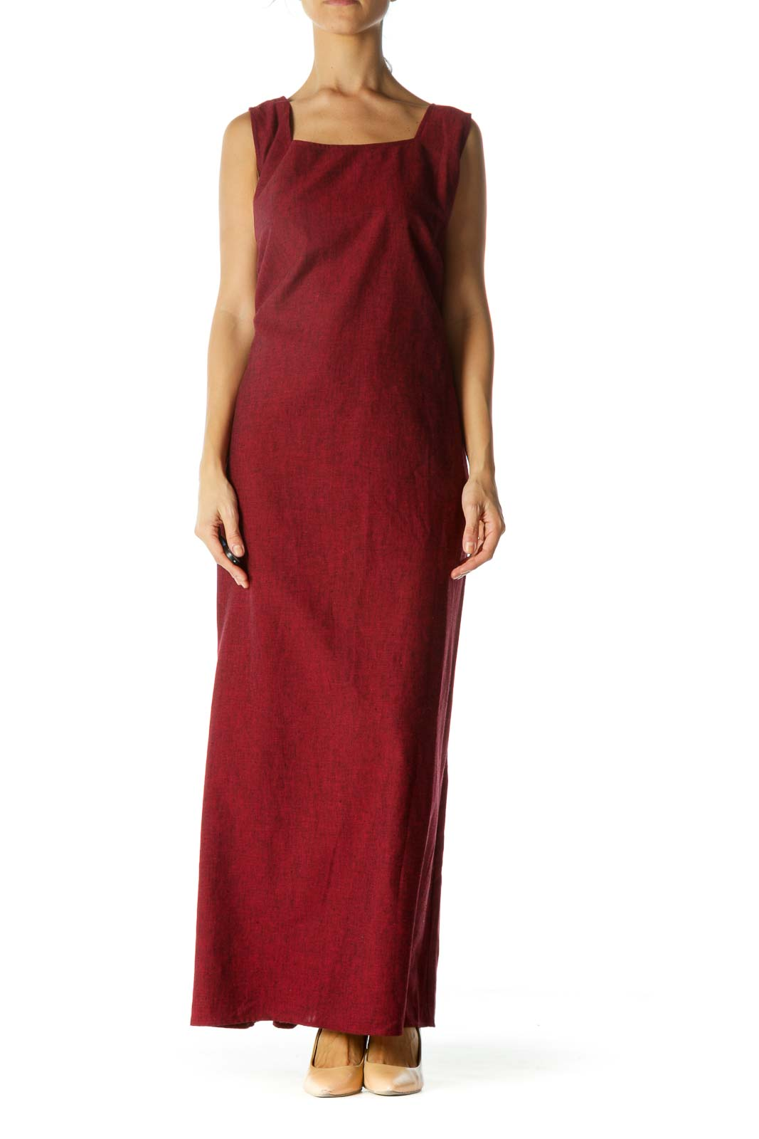 Red Linen Side Detail Maxi Dress