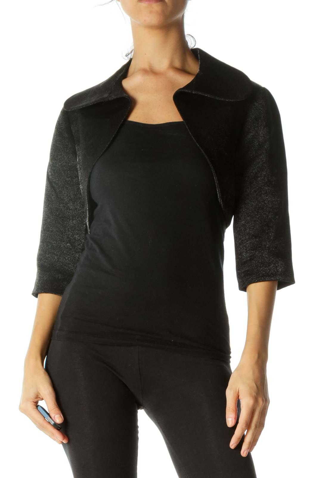 Black Shine Cropped Bolero Jacket