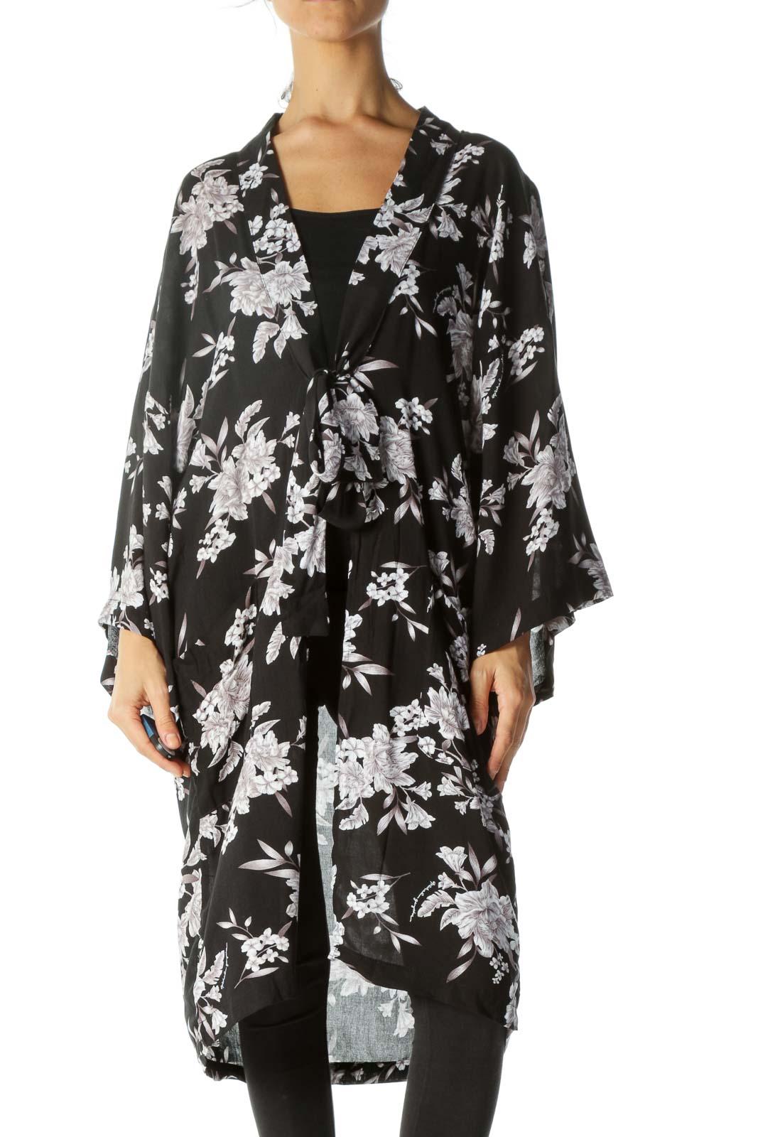Black&Pink Floral Kimono