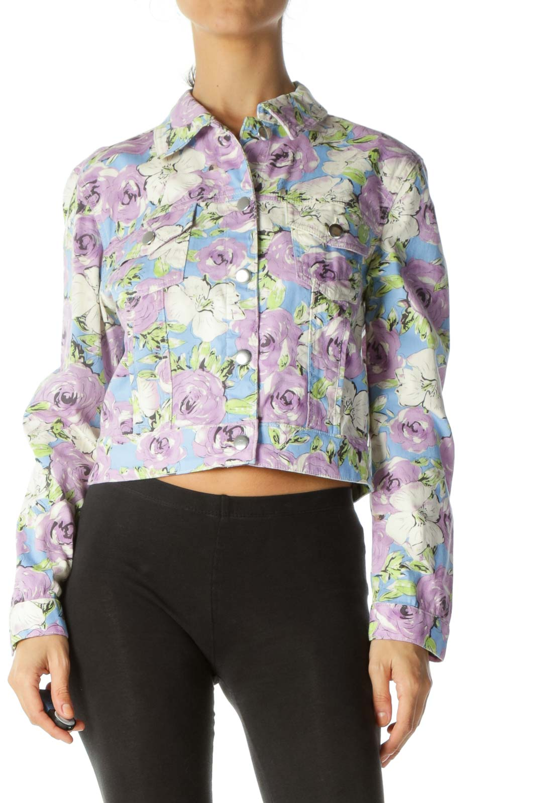 Multicolor Floral Crop Denim Jacket