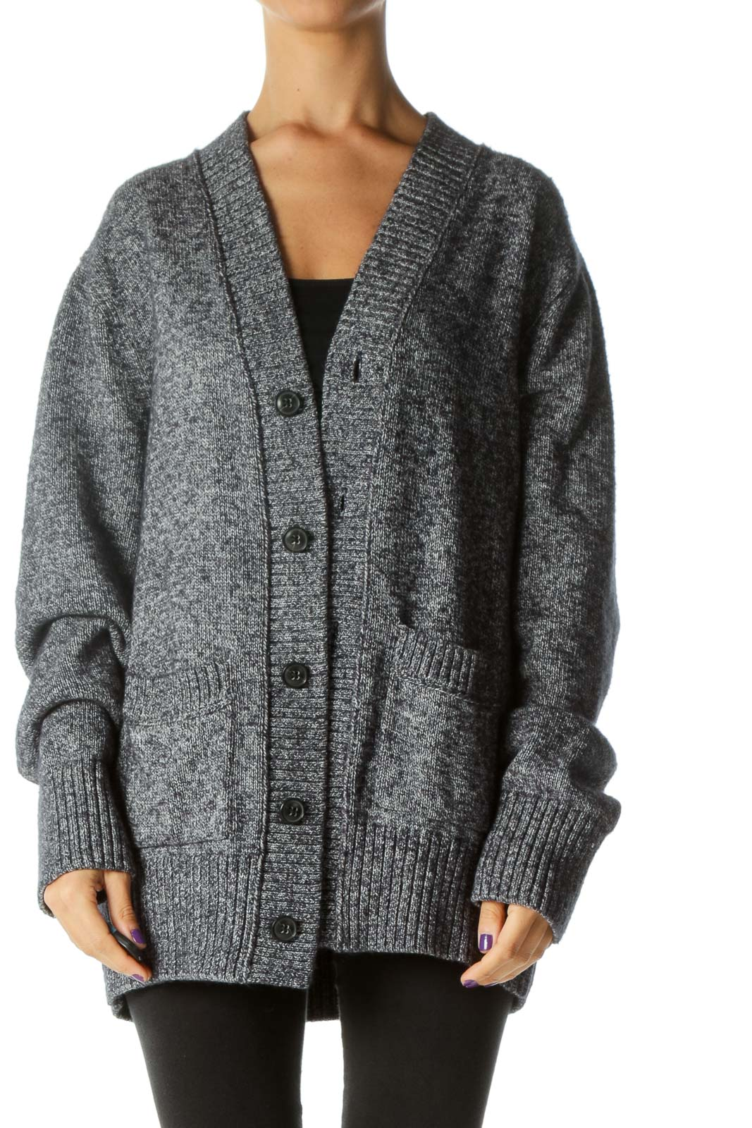 Blue White Buttoned Pocketed Knit Thick Cardigan