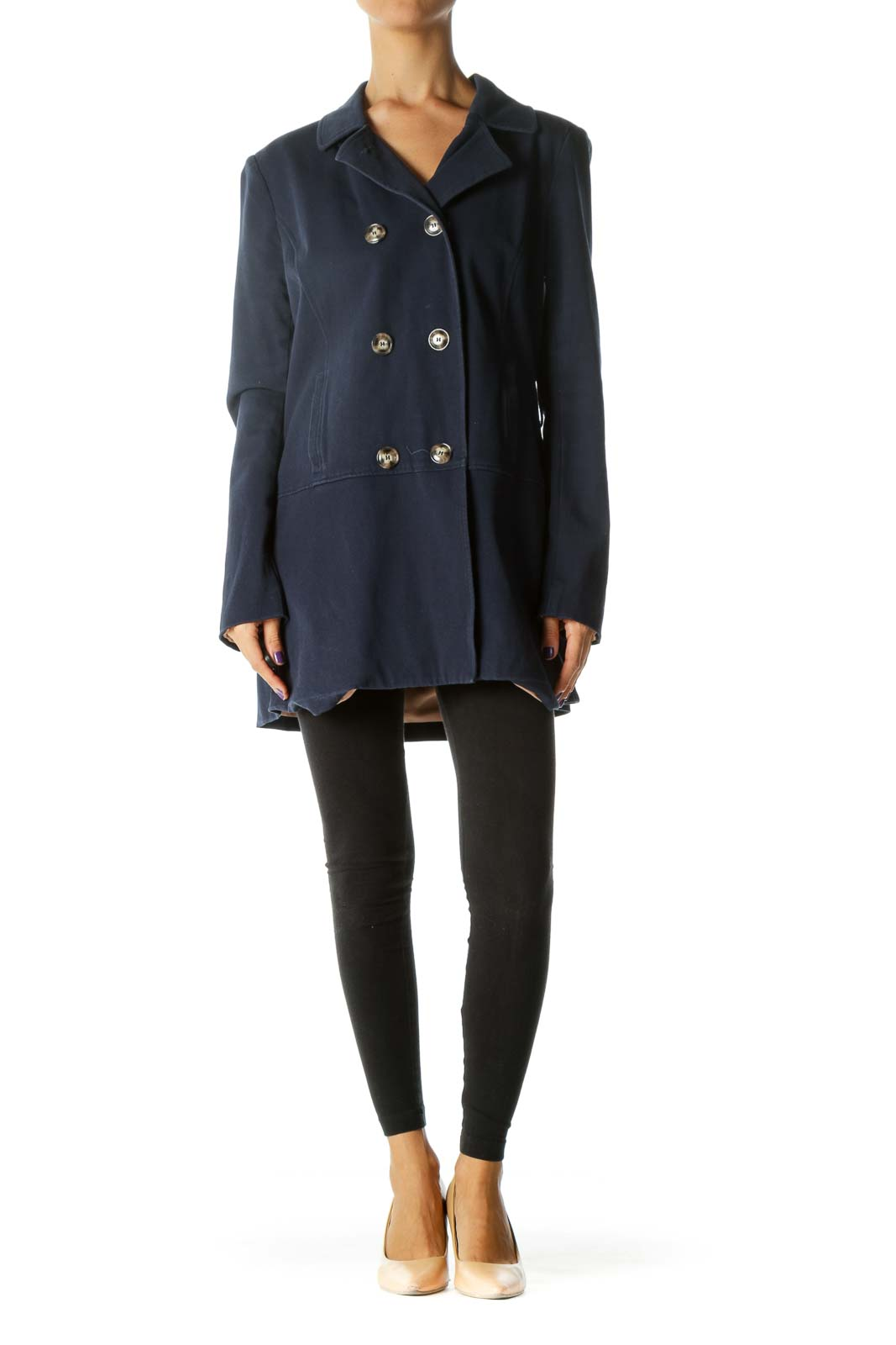 Navy Blue Double-Breasted Long Sleeve Coat (Missing Belt)