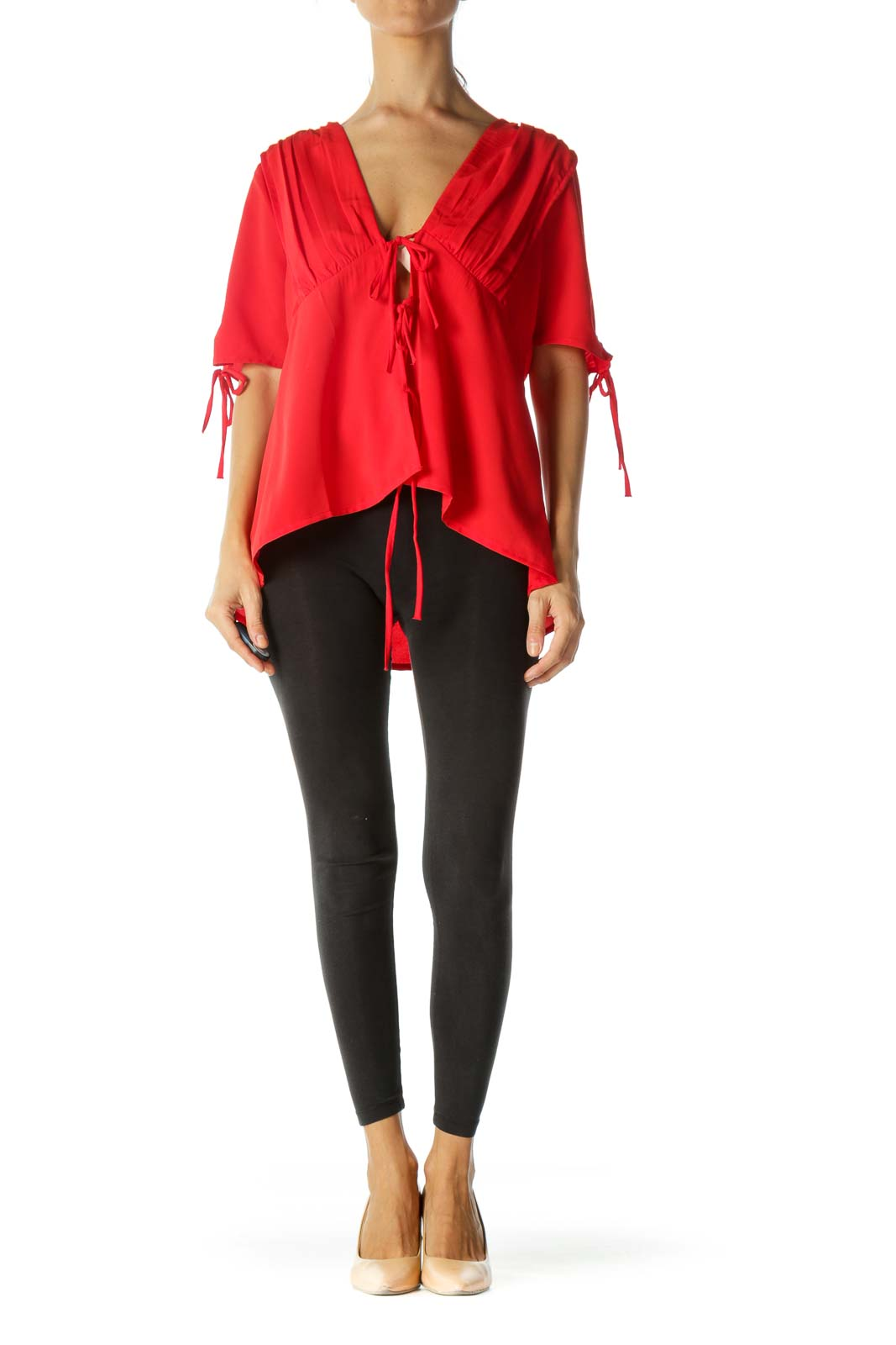 Warm Red Front Knot Details Pleated Short Sleeve Top