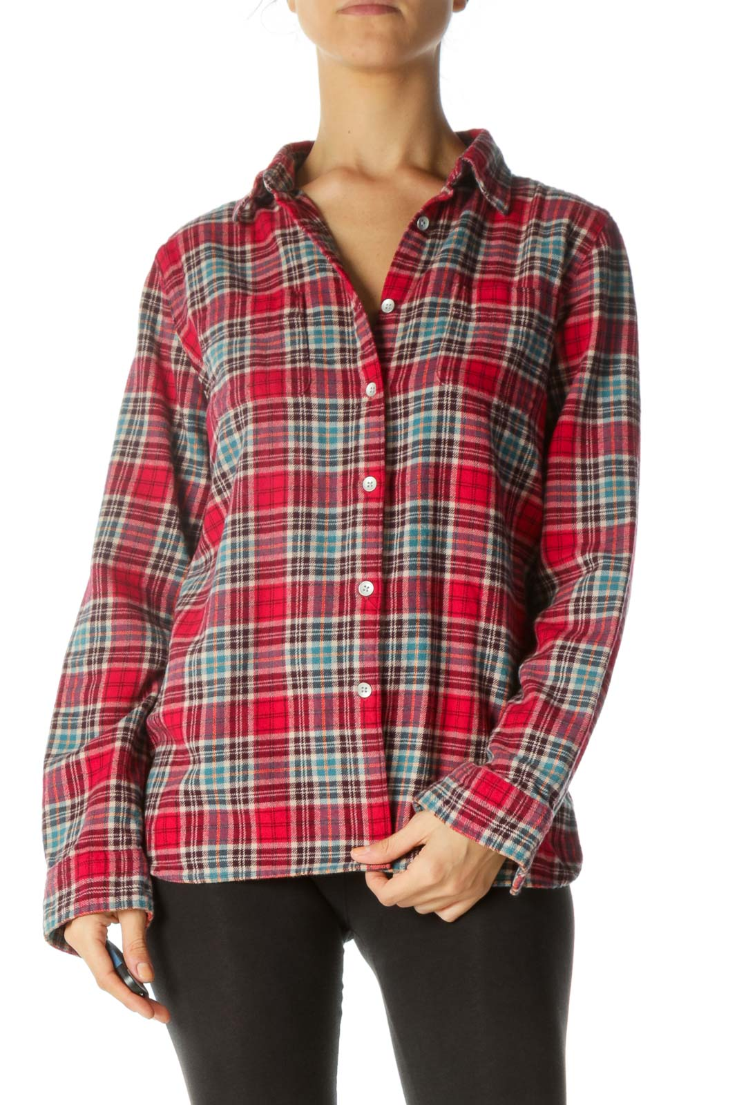 Multicolored Flannel Pocketed Buttoned Shirt