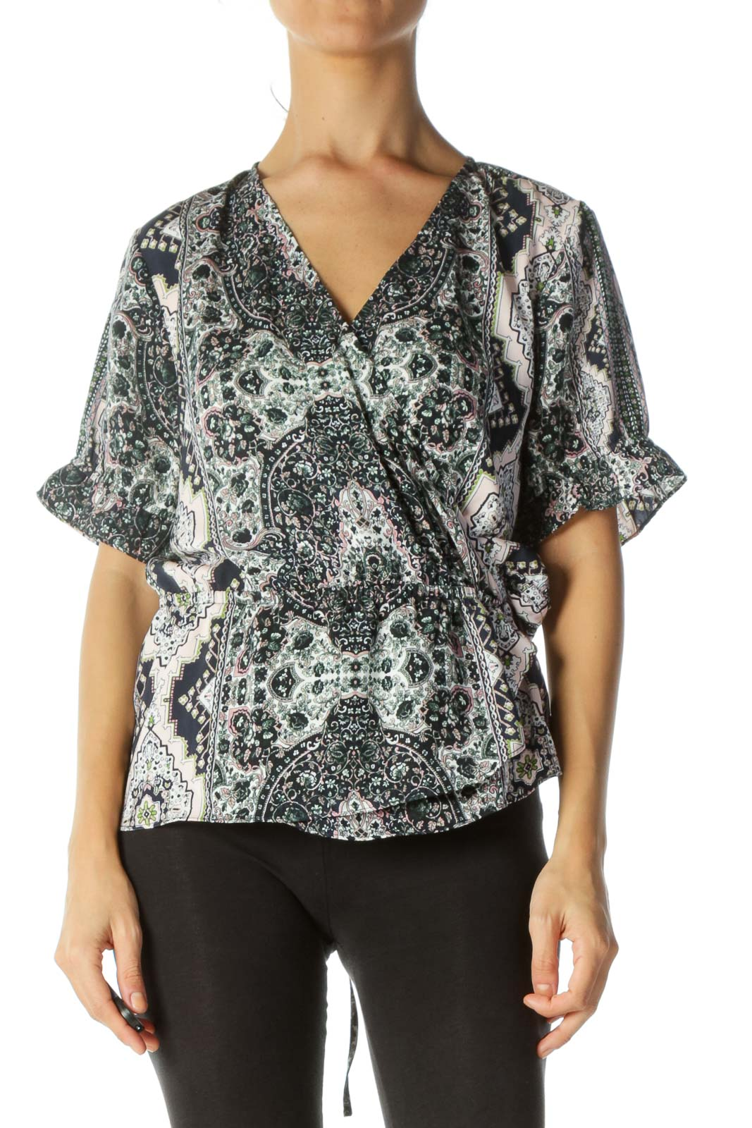 Multicolor Print Deep V-Neck Elastic Waist Blouse