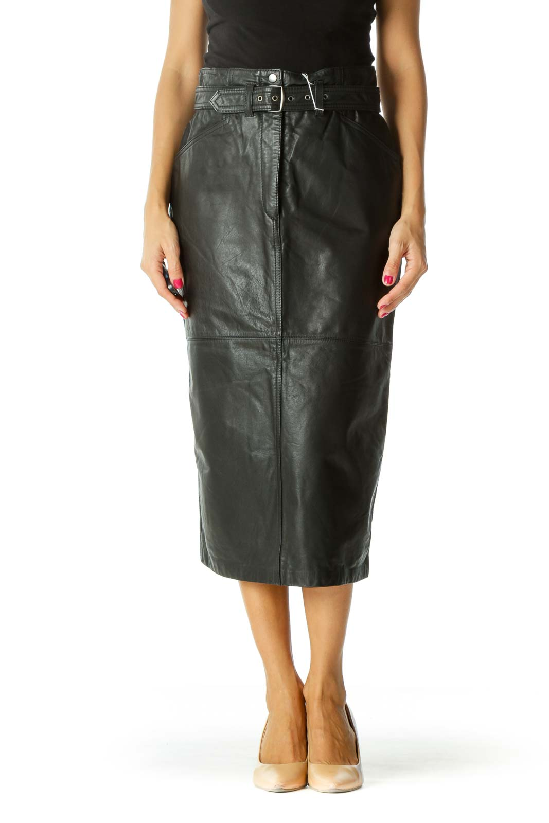 Black Genuine Leather Belted Long Skirt