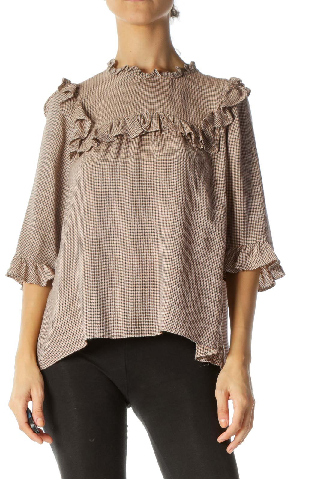 Brown Houndstooth Ruffled Bibbed 3/4 Sleeve Blouse