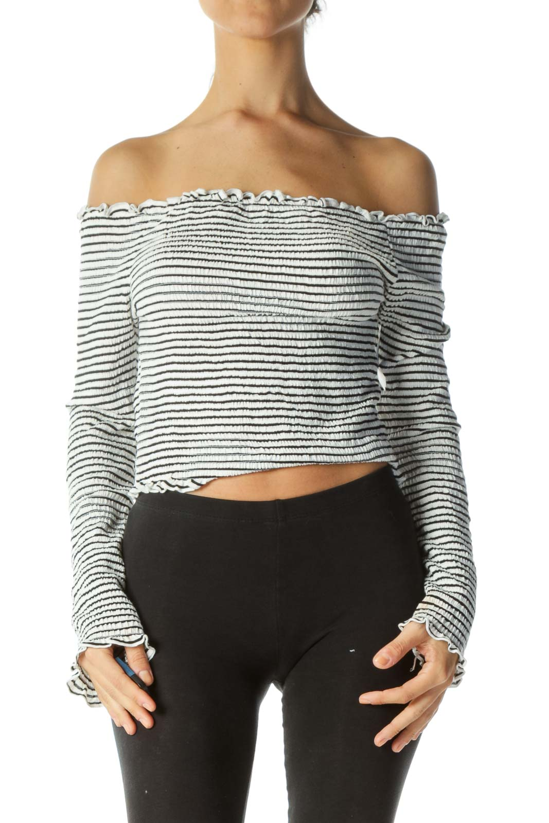Black White Striped Cold Shoulder Long Sleeve Shirred Top