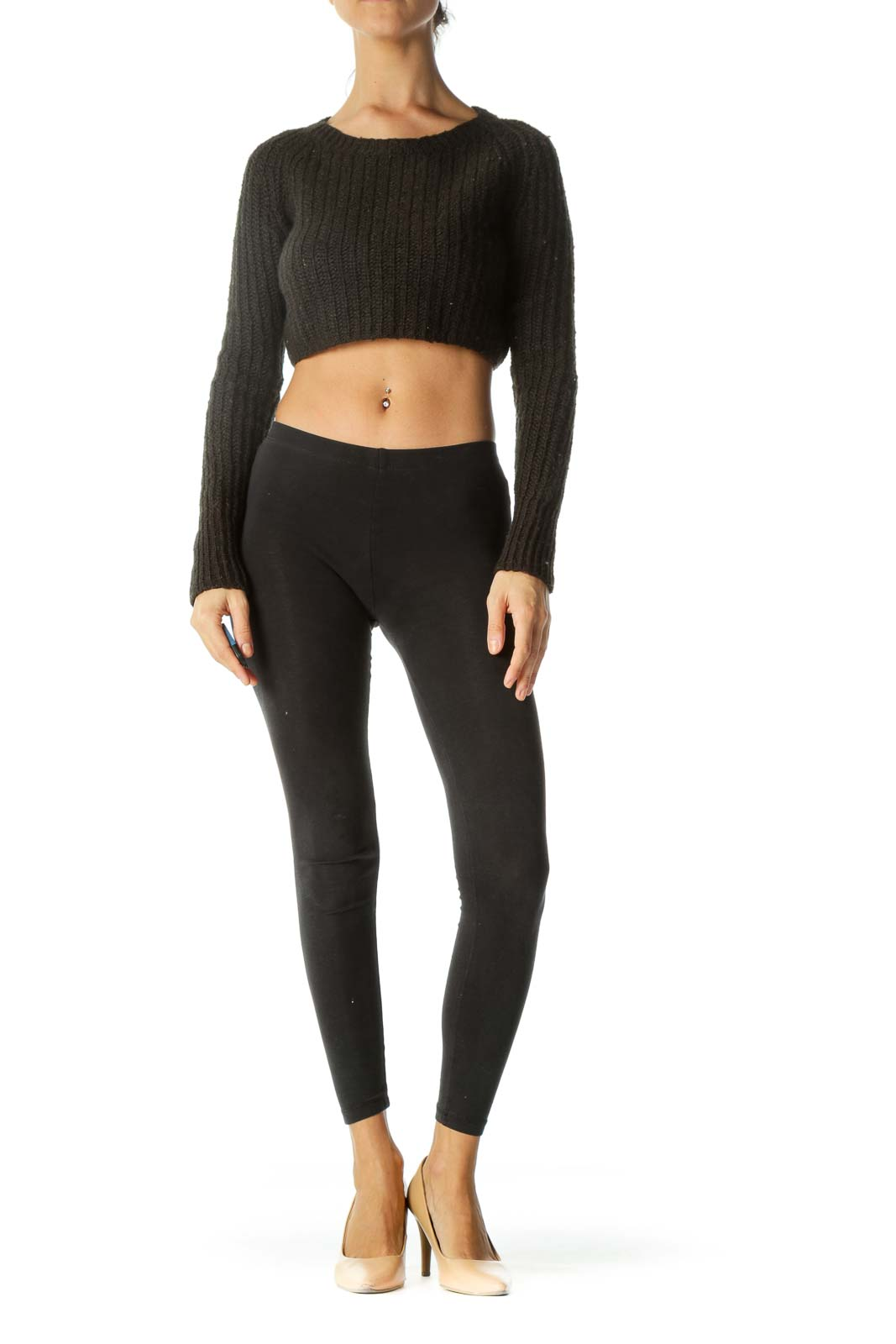 Black Round Neck Long Sleeve Cropped Sweater