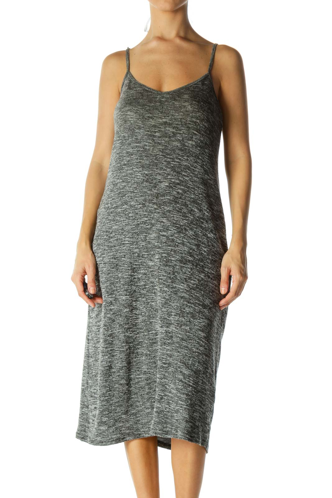 Heathered-Gray Spaghetti-Strap Midi Knit Dress