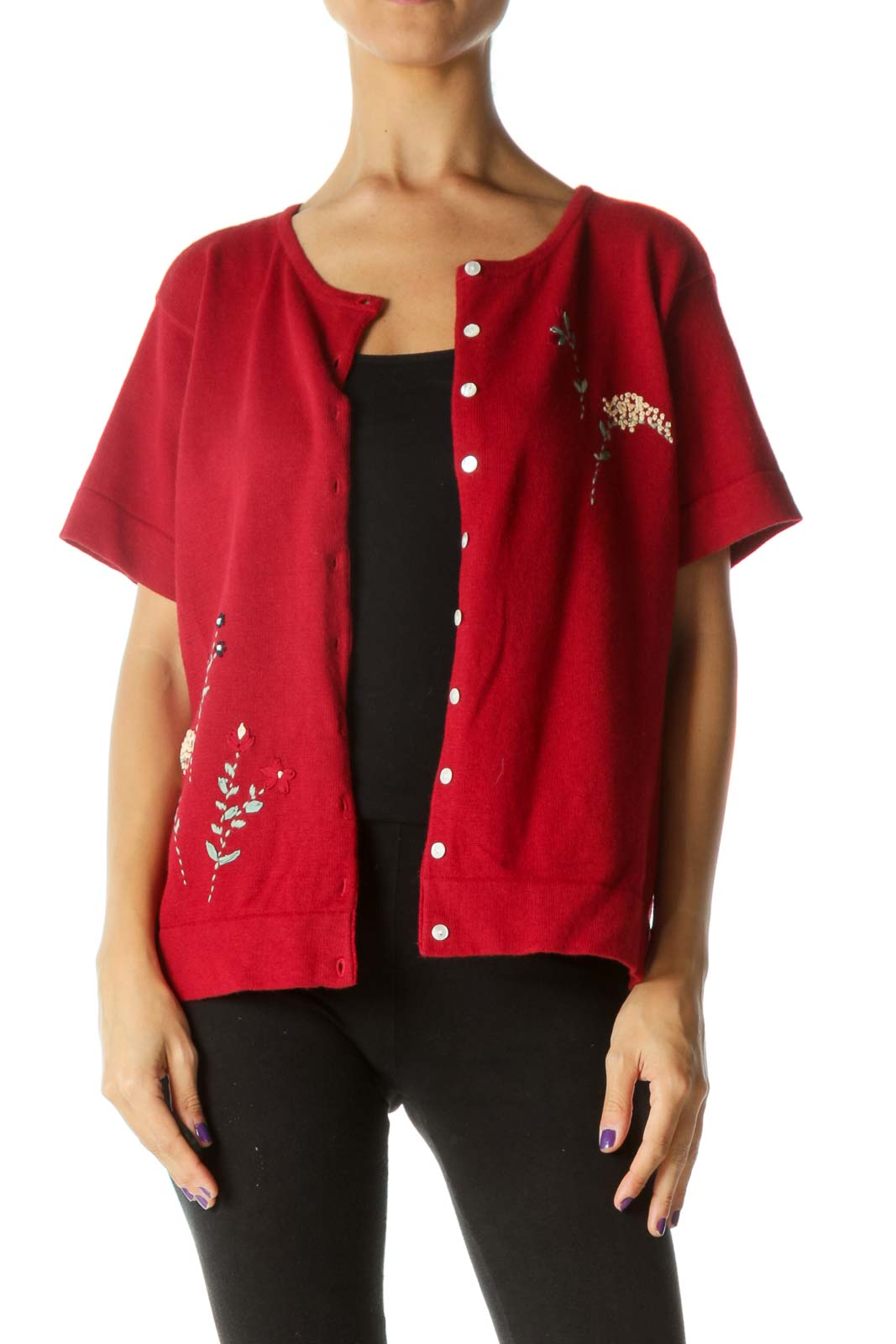 Red Embroidered Floral Short Cardigan