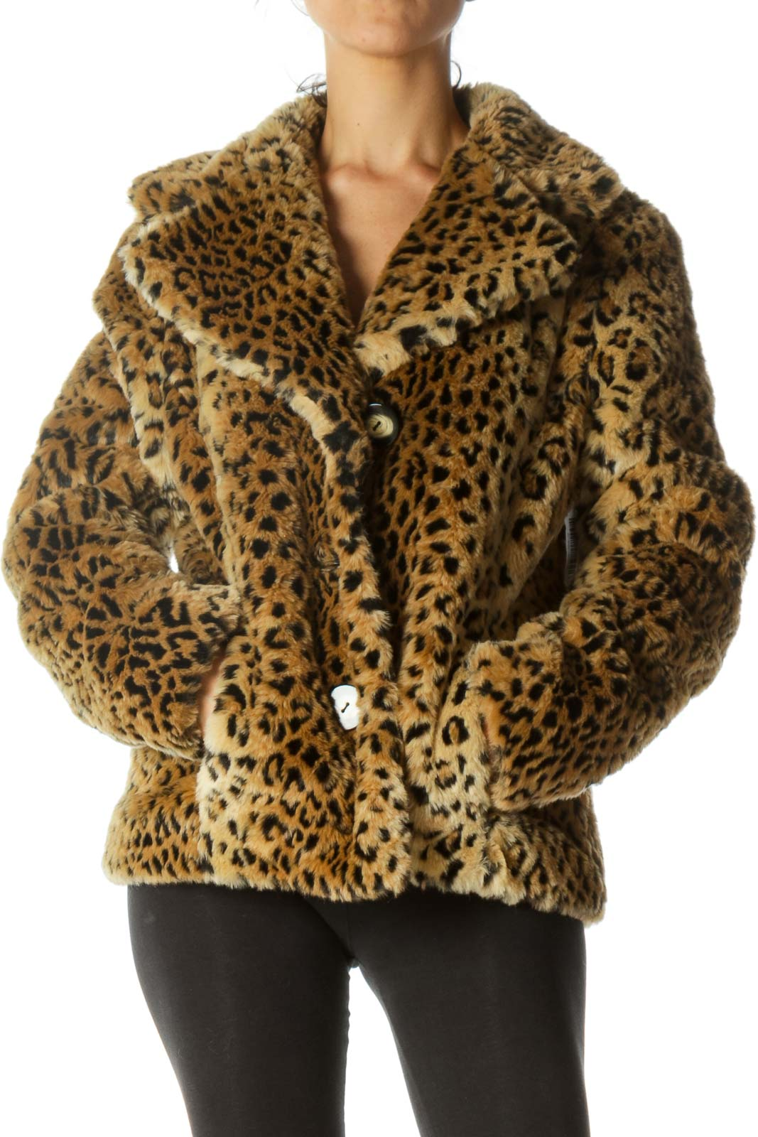 Black Beige Animal Print Padded Collared Jacket with Belt Hoops