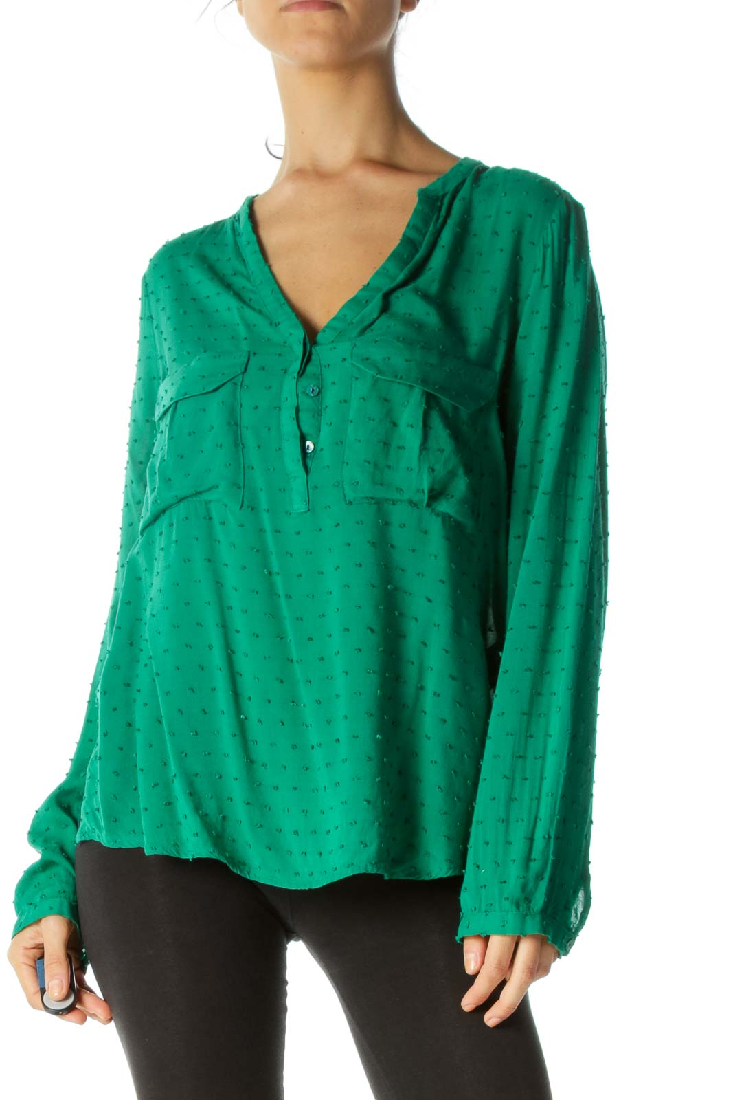 Emerald Green Textured Long Sleeve Blouse