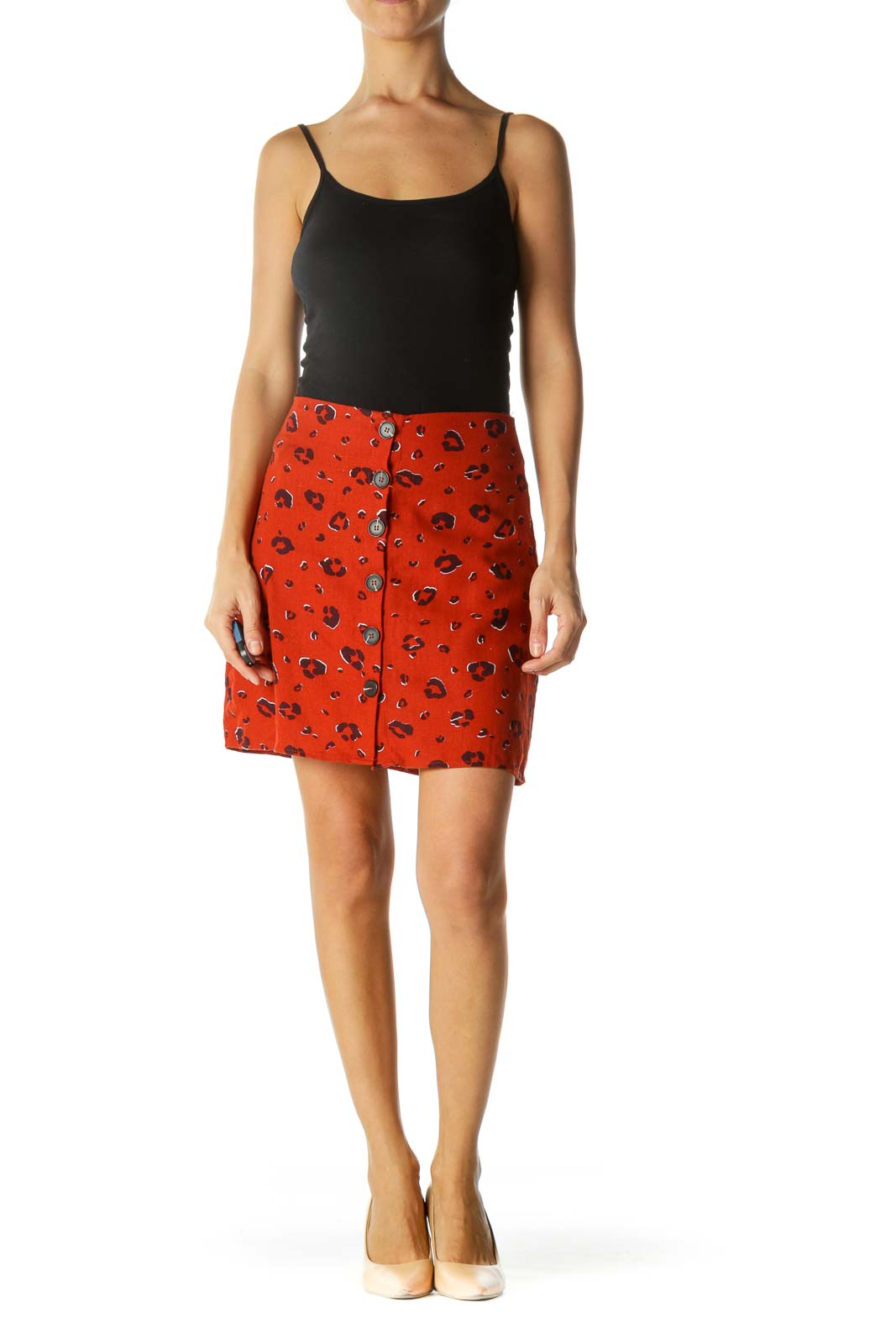 Brick Orange Black Animal Print Buttoned Thin A-Line Skirt