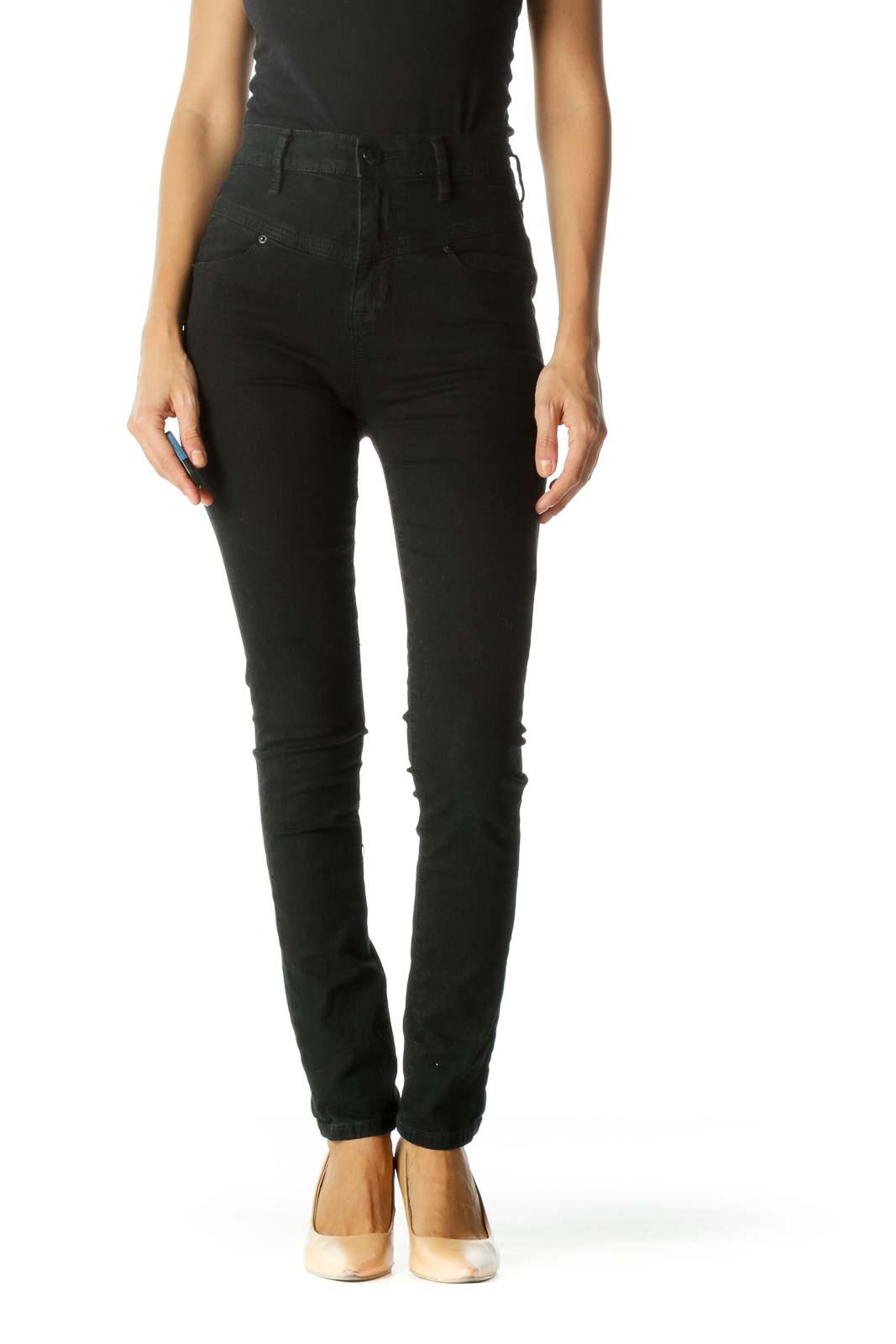Faded Black High Waist Front Unique Design Slim Pants