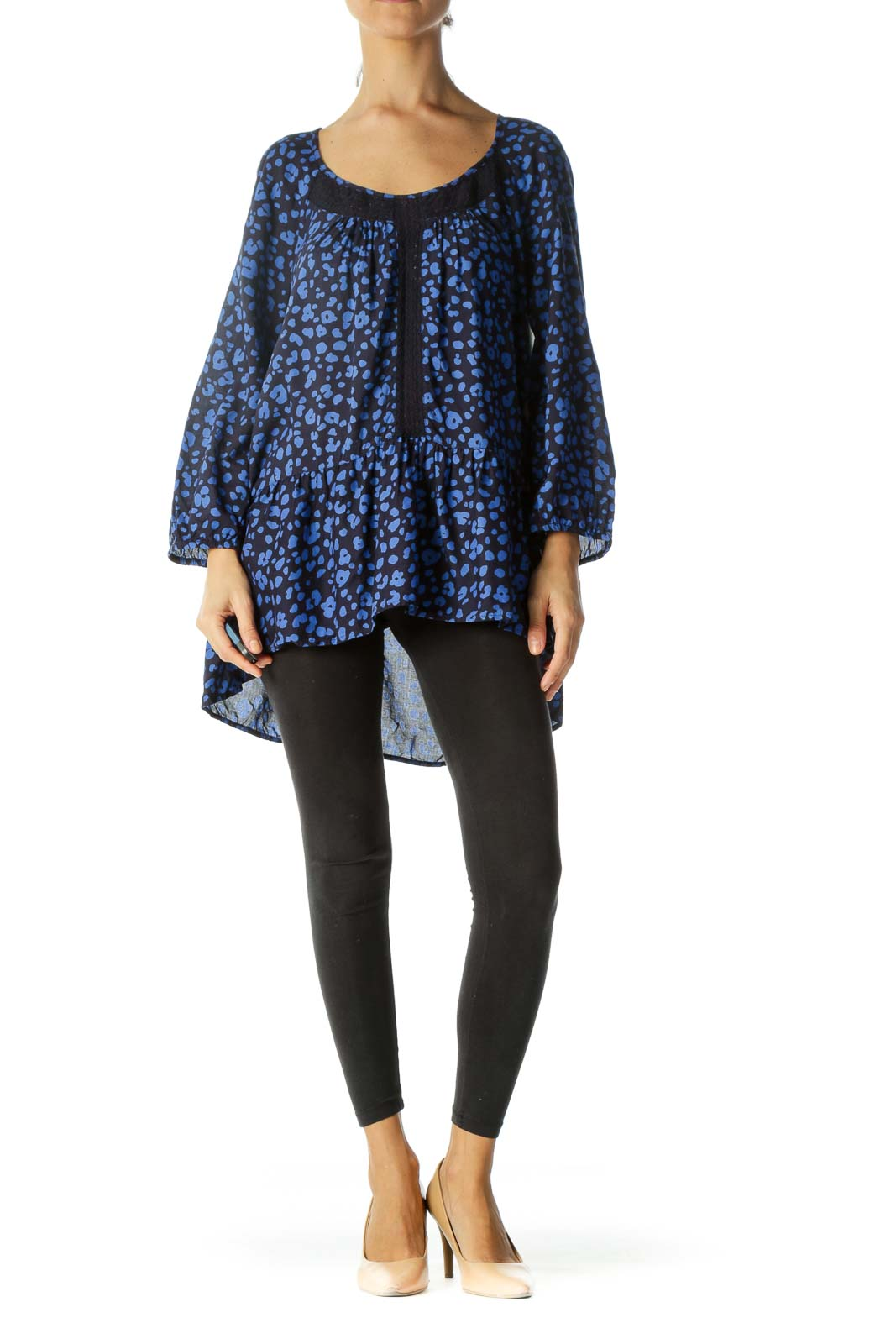 Blue & Navy Animal Print Flared Lace-Piping Long-Sleeve Blouse