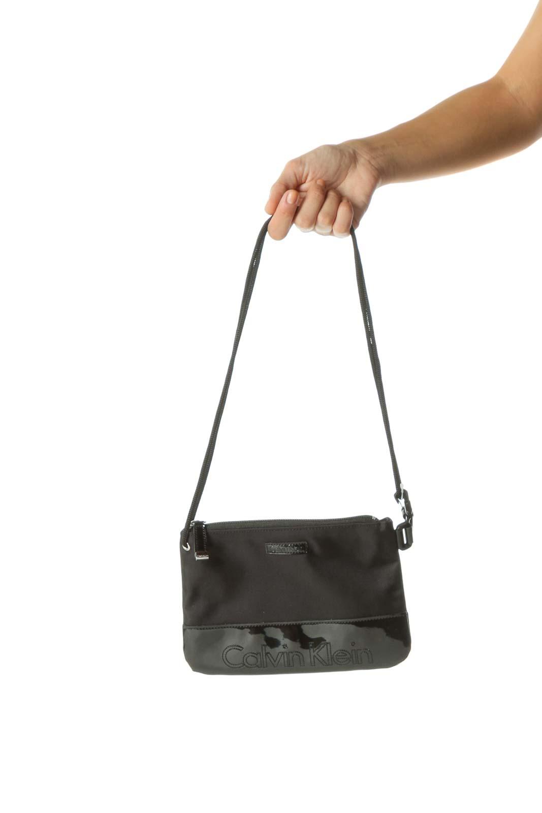 Black Mixed Media Textured Patent Crossbody Bag