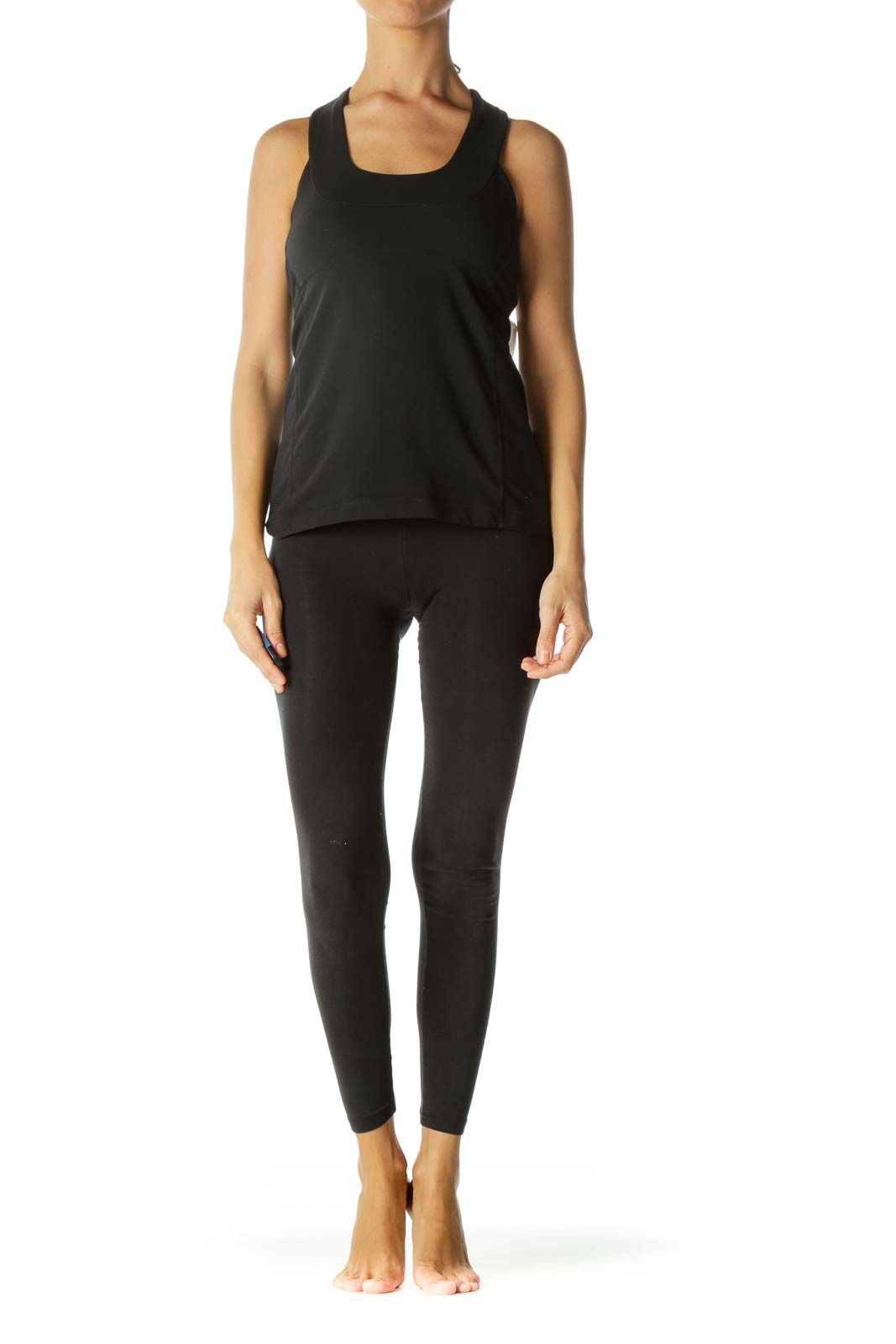 Black Round Neck Stretch Active Top with Built-In Support