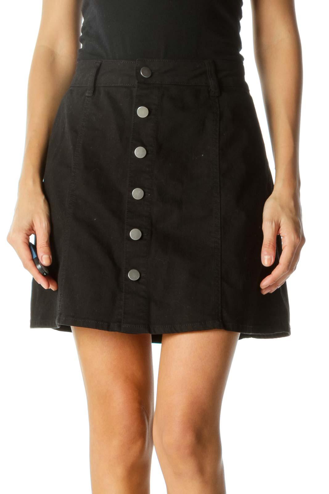 Blue Buttoned Stretch A-Line Skirt