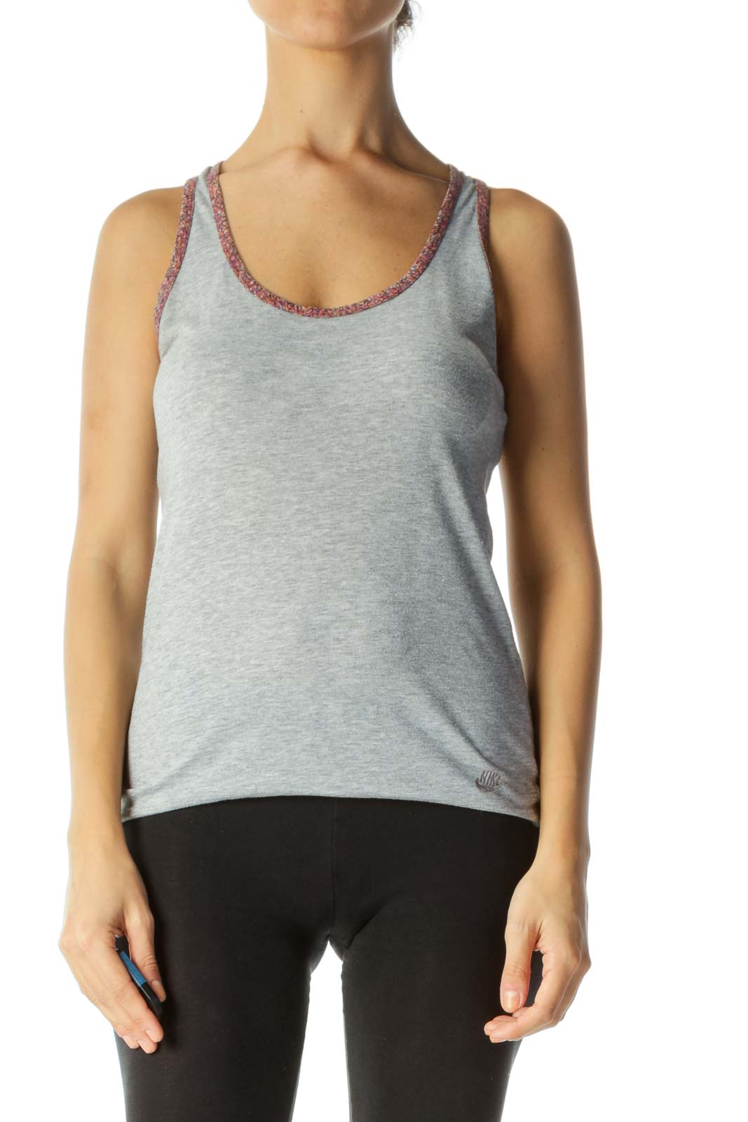 Gray Racer-Back Active-Tank with Multicolored Piping