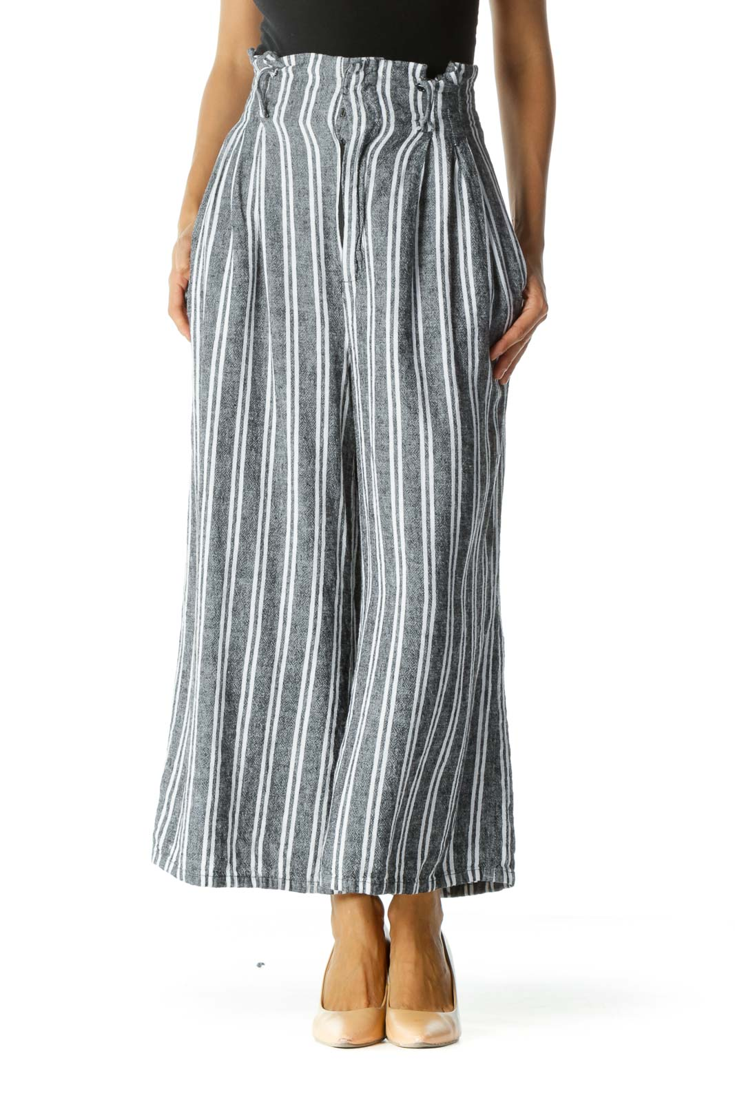 Black White Striped Knit Pocketed Wide Leg Cropped Pants